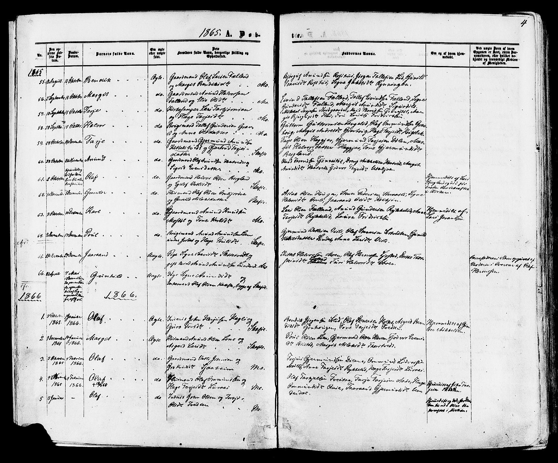 SAKO, Mo kirkebøker, F/Fa/L0006: Ministerialbok nr. I 6, 1865-1885, s. 4