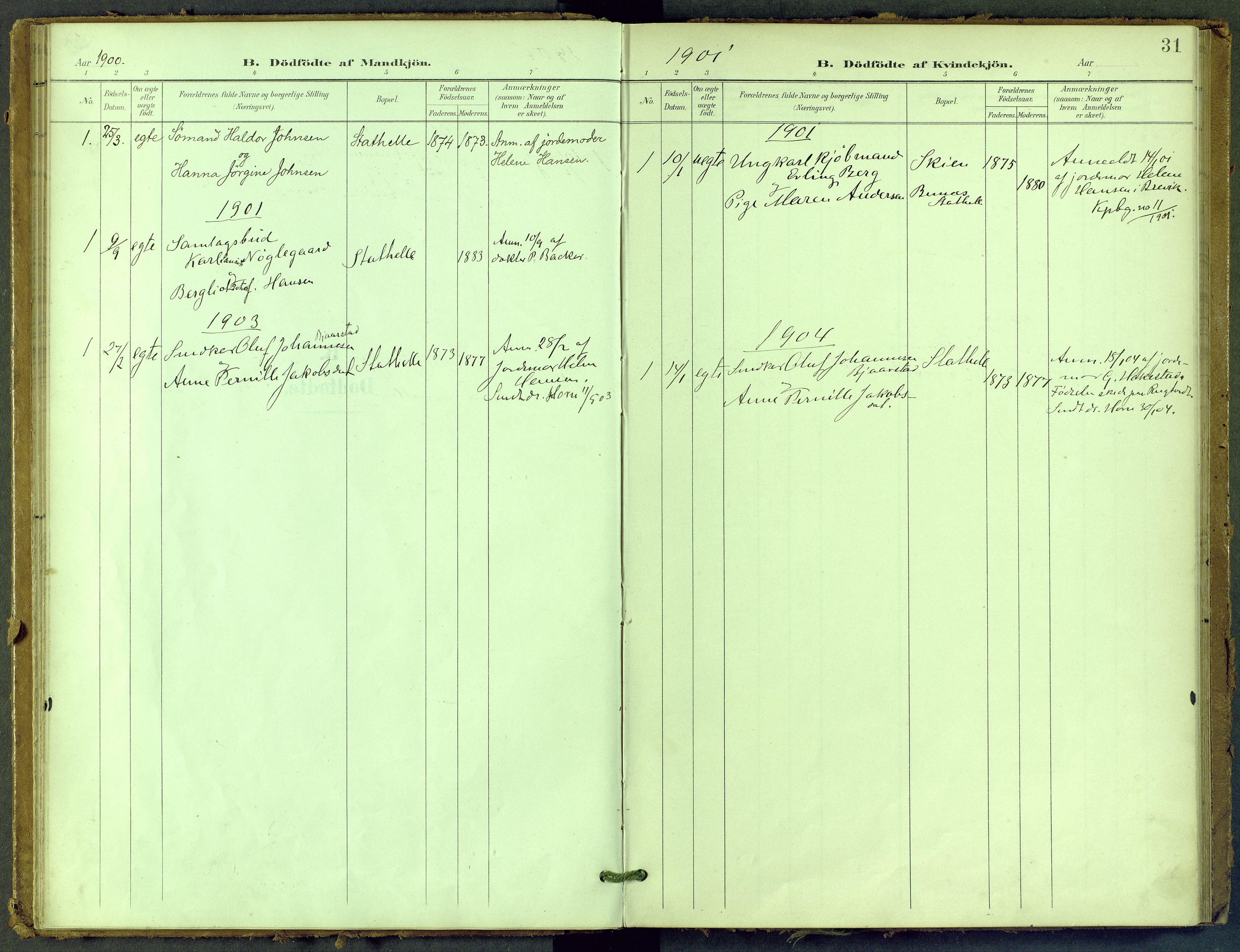 SAKO, Bamble kirkebøker, F/Fb/L0002: Ministerialbok nr. II 2, 1900-1921, s. 31
