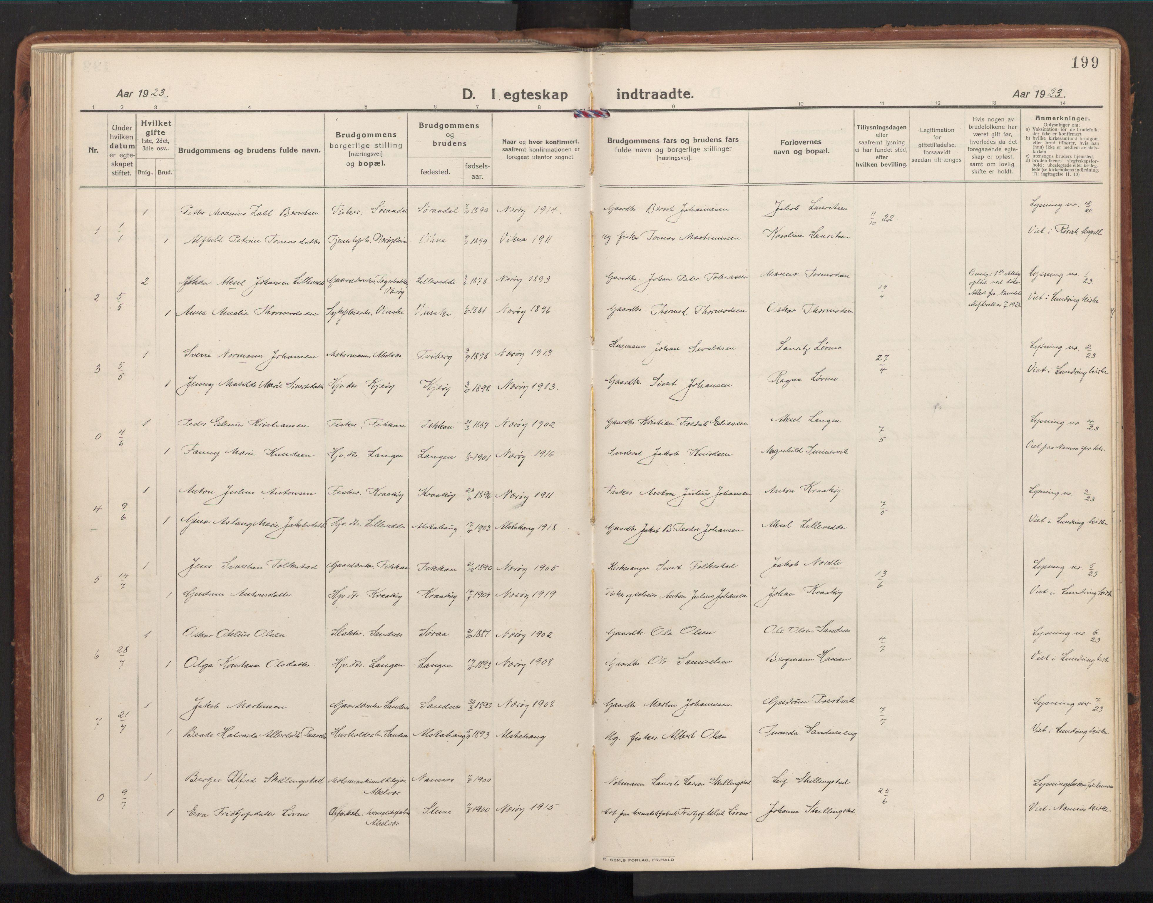 SAT, Ministerialprotokoller, klokkerbøker og fødselsregistre - Nord-Trøndelag, 784/L0678: Ministerialbok nr. 784A13, 1921-1938, s. 199
