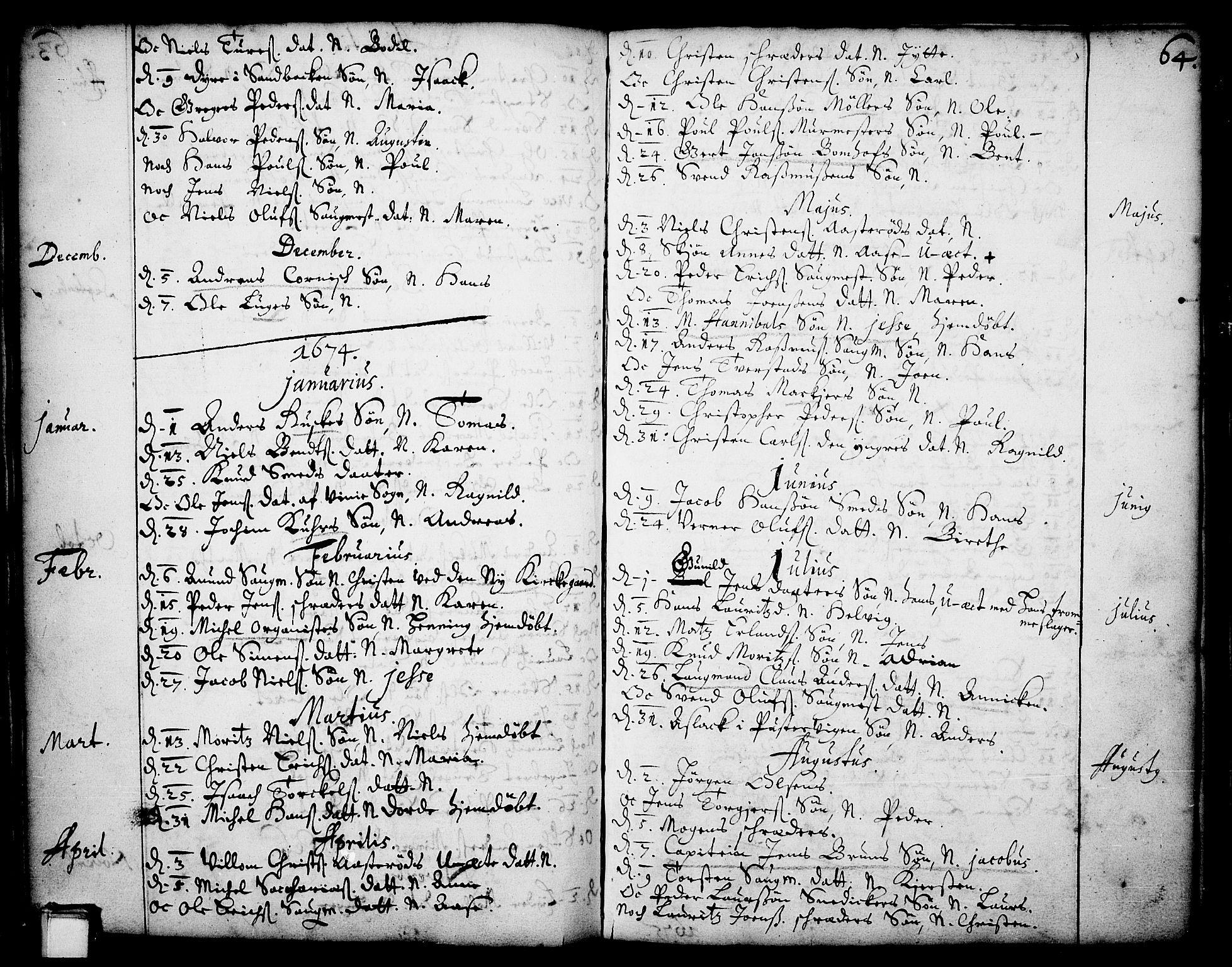 SAKO, Skien kirkebøker, F/Fa/L0001: Ministerialbok nr. 1, 1659-1679, s. 64