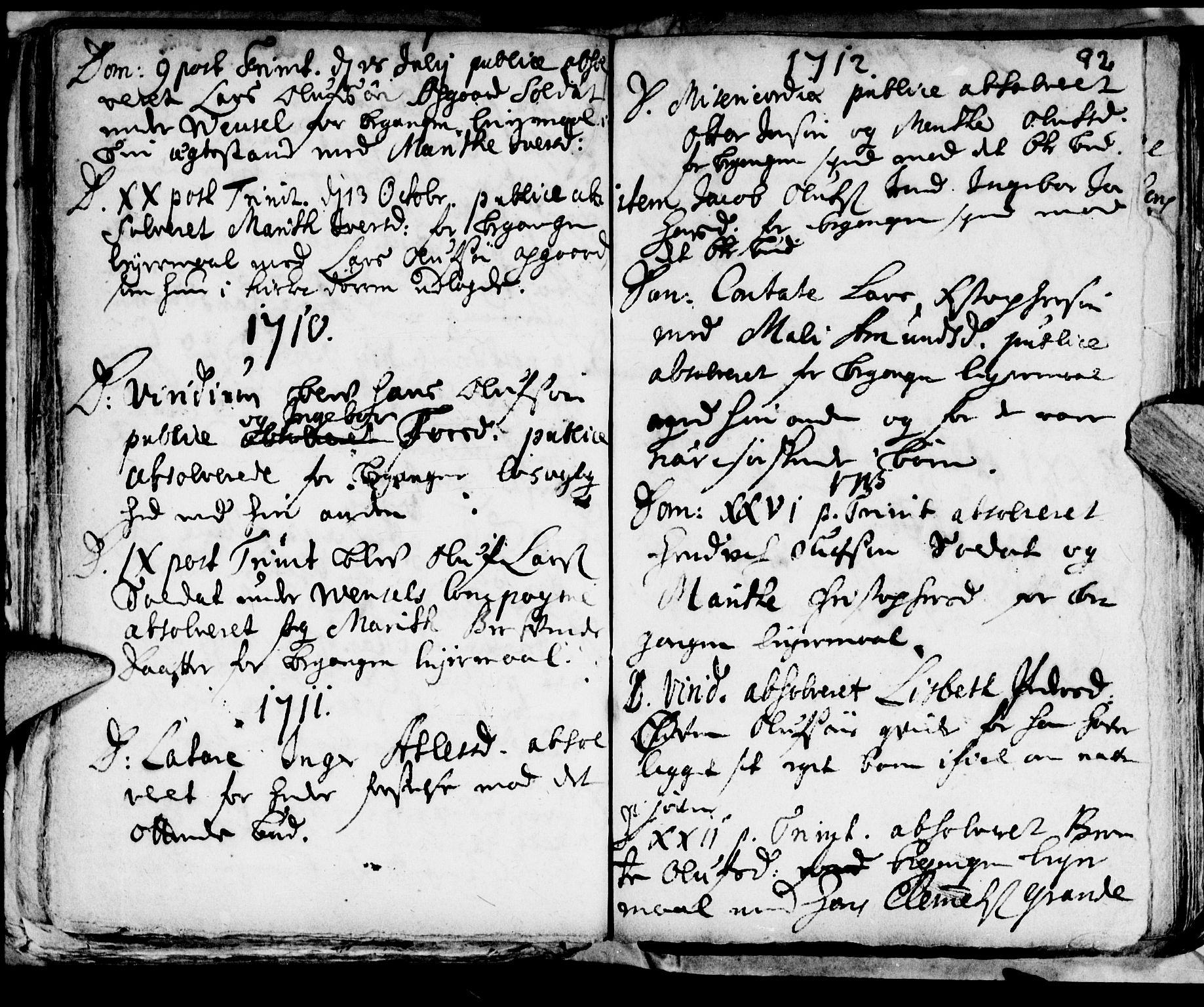 SAT, Ministerialprotokoller, klokkerbøker og fødselsregistre - Nord-Trøndelag, 722/L0214: Ministerialbok nr. 722A01, 1692-1718, s. 92
