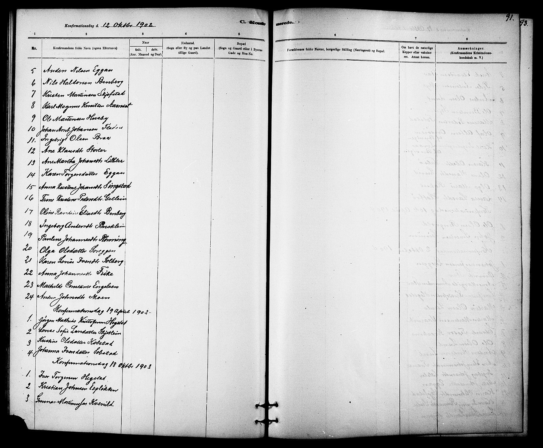 SAT, Ministerialprotokoller, klokkerbøker og fødselsregistre - Sør-Trøndelag, 613/L0395: Klokkerbok nr. 613C03, 1887-1909, s. 91