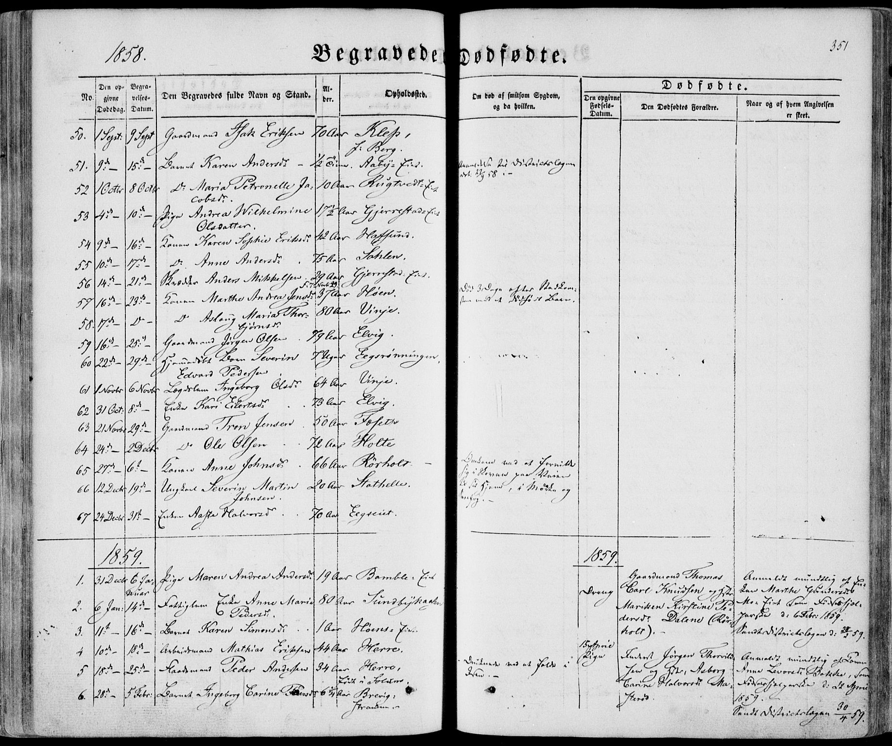 SAKO, Bamble kirkebøker, F/Fa/L0005: Ministerialbok nr. I 5, 1854-1869, s. 351
