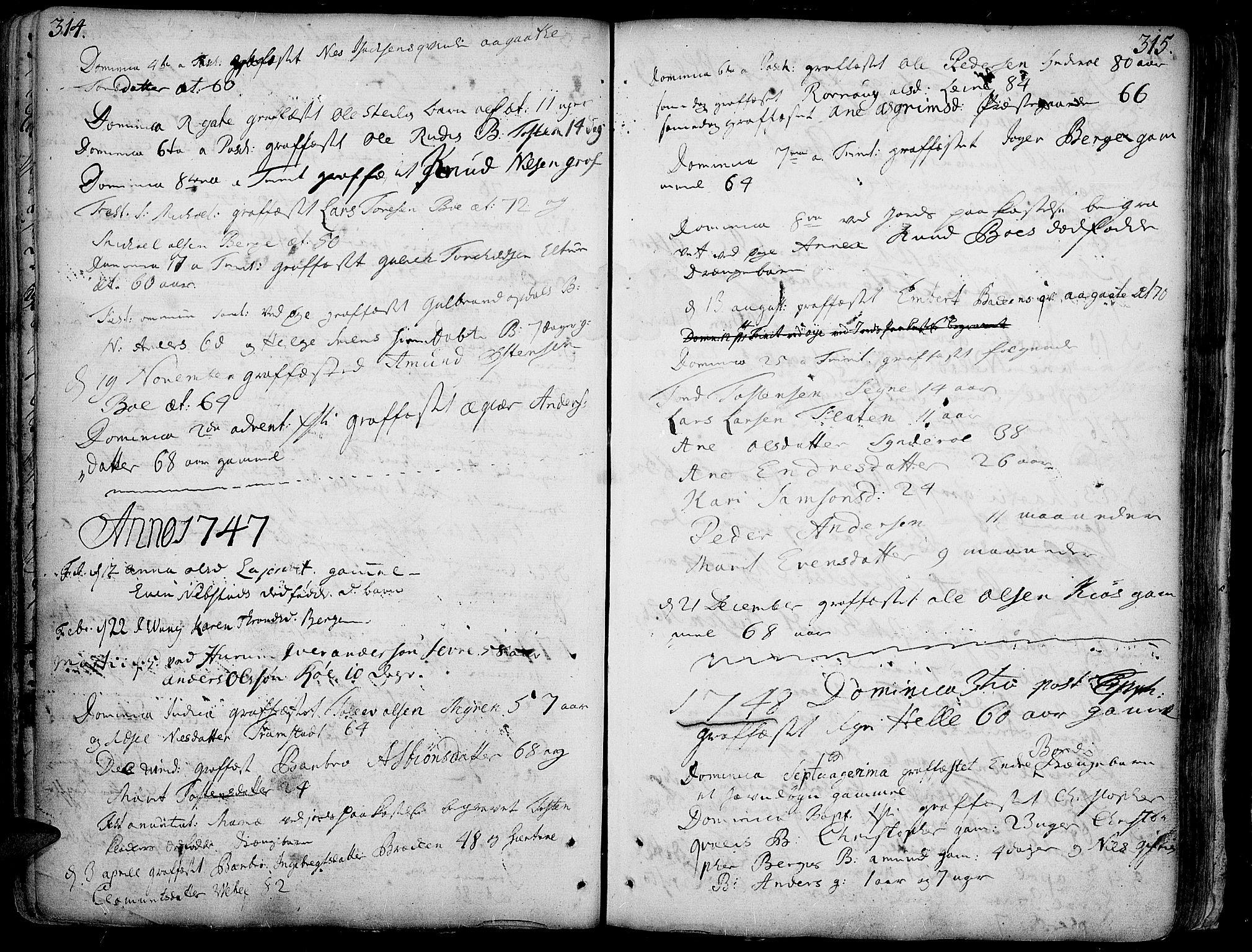 SAH, Vang prestekontor, Valdres, Ministerialbok nr. 1, 1730-1796, s. 314-315