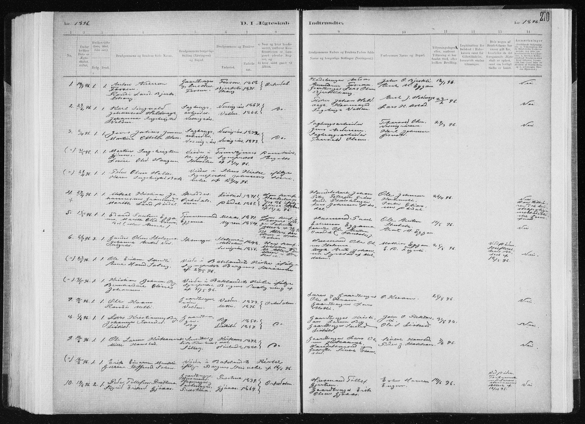 SAT, Ministerialprotokoller, klokkerbøker og fødselsregistre - Sør-Trøndelag, 668/L0818: Klokkerbok nr. 668C07, 1885-1898, s. 270