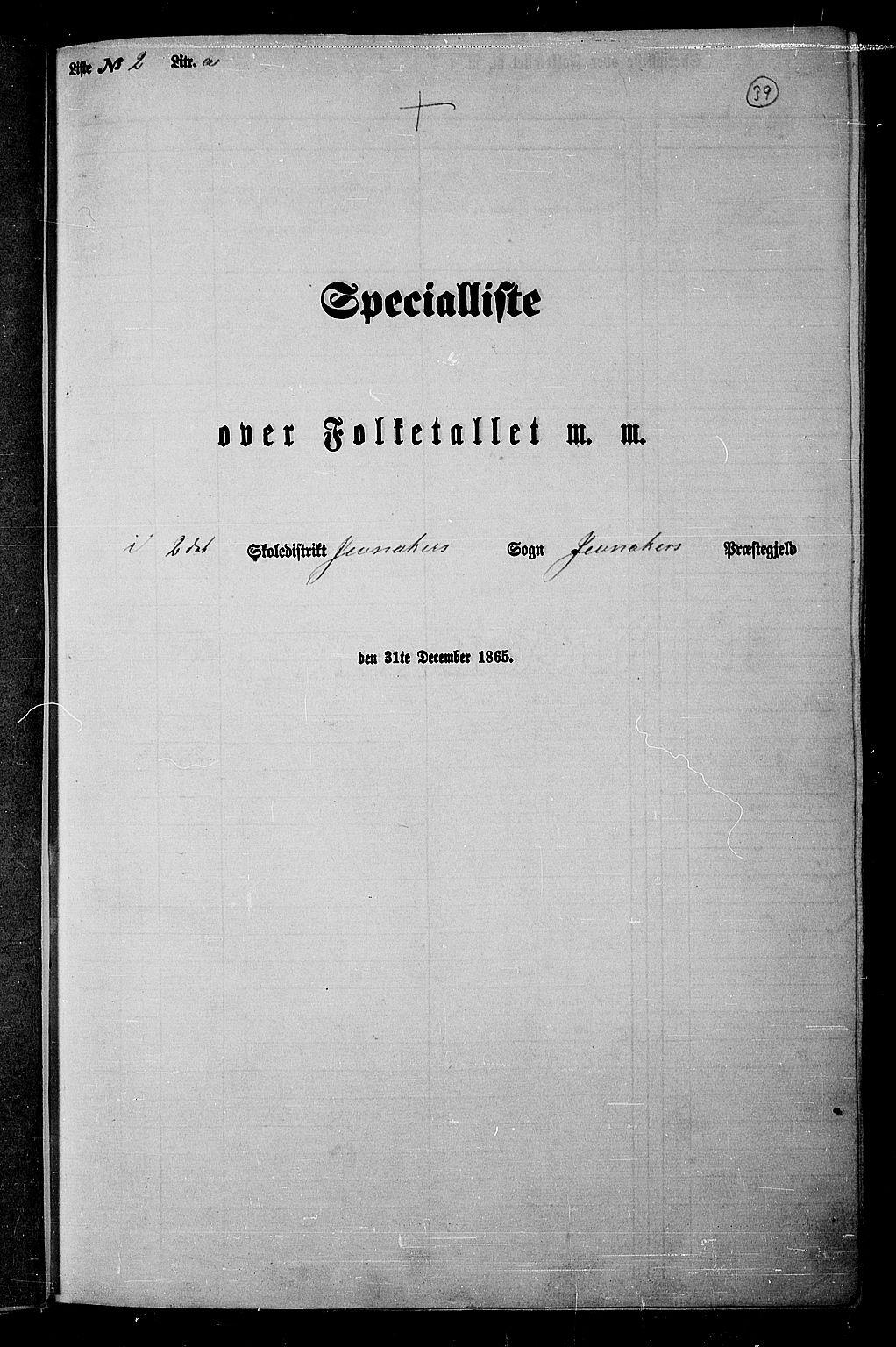 RA, Folketelling 1865 for 0532P Jevnaker prestegjeld, 1865, s. 37