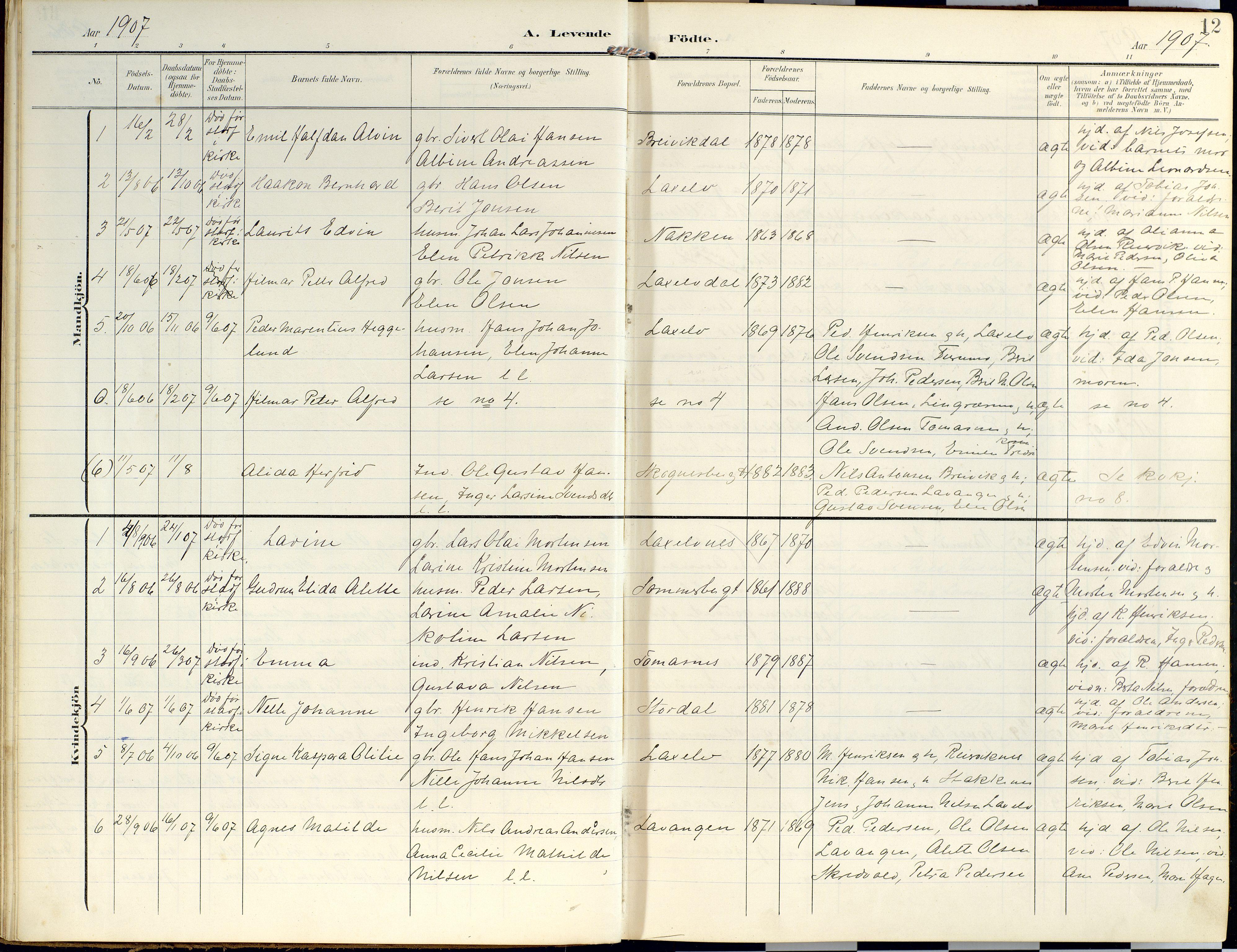 SATØ, Lyngen sokneprestembete, Ministerialbok nr. 14, 1905-1920, s. 12