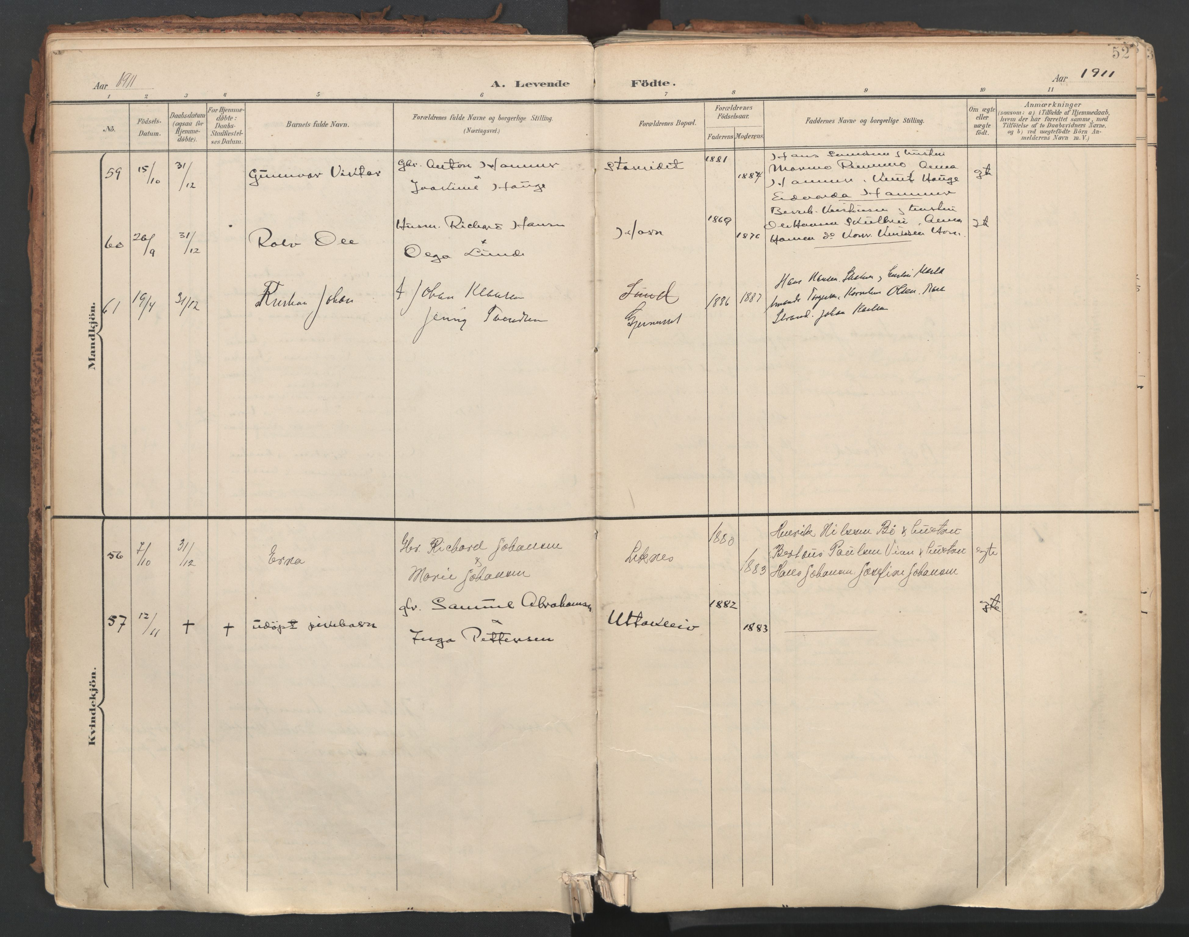 SAT, Ministerialprotokoller, klokkerbøker og fødselsregistre - Nordland, 881/L1154: Ministerialbok nr. 881A07, 1907-1918, s. 52