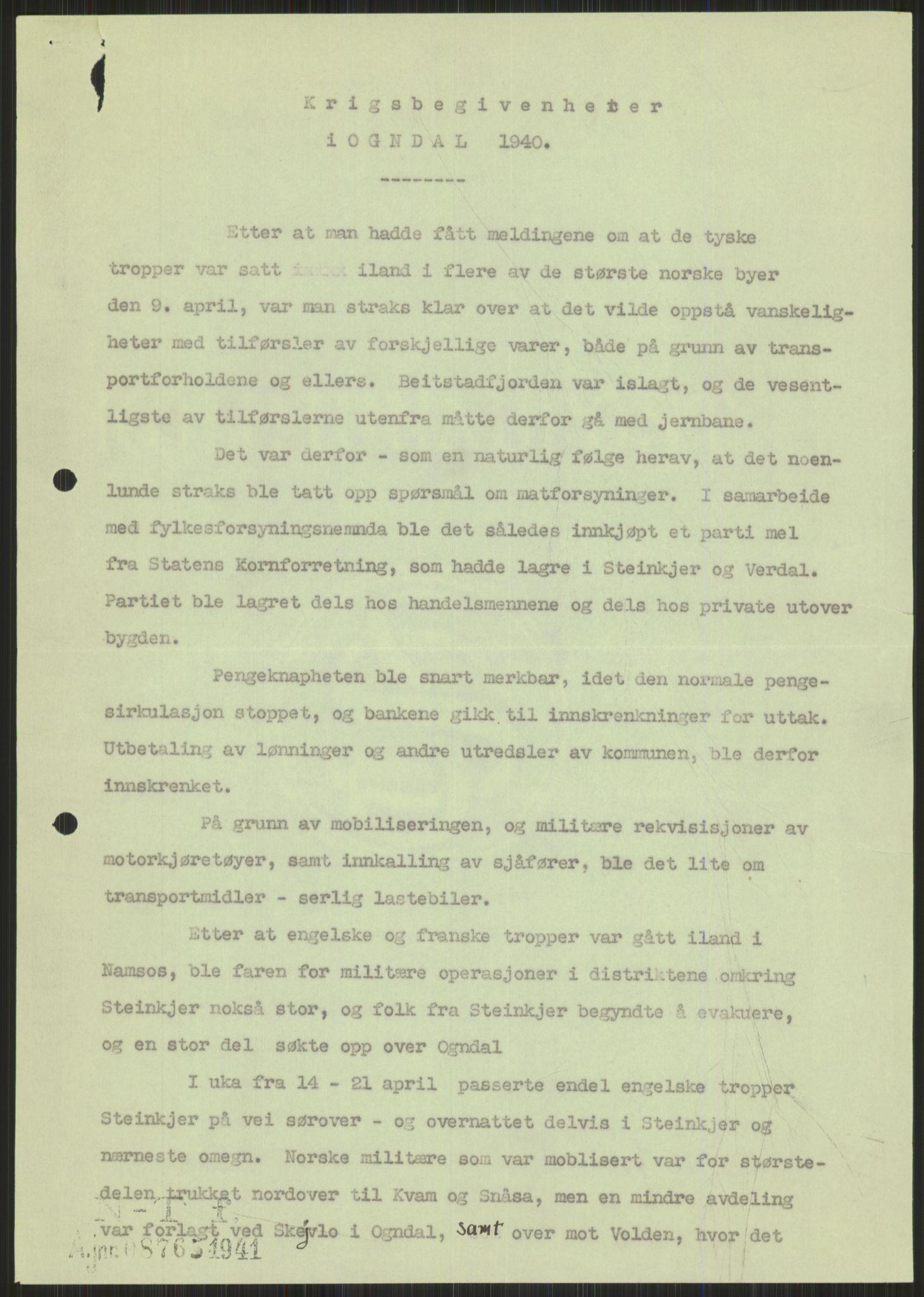 RA, Forsvaret, Forsvarets krigshistoriske avdeling, Y/Ya/L0016: II-C-11-31 - Fylkesmenn.  Rapporter om krigsbegivenhetene 1940., 1940, s. 527