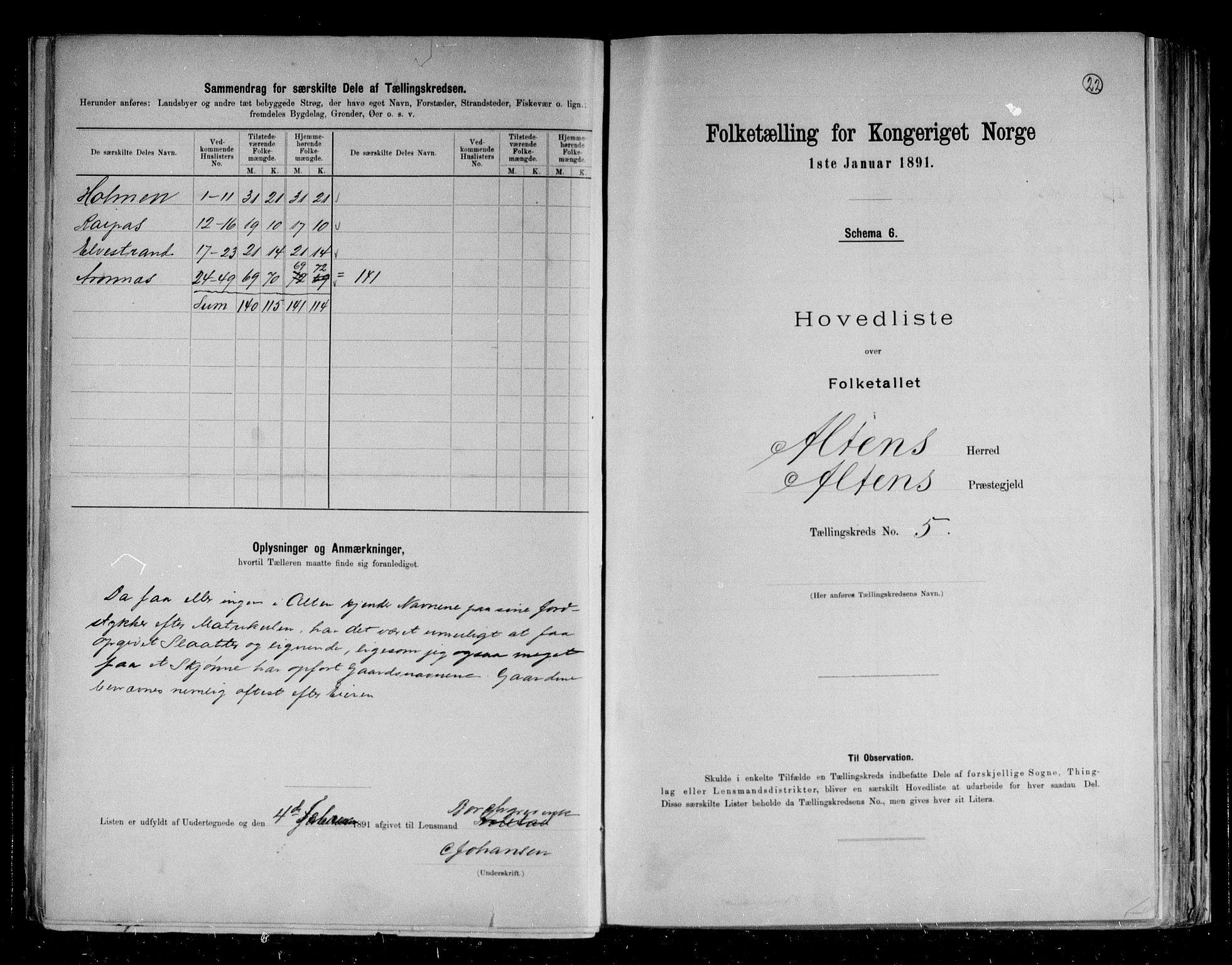 RA, Folketelling 1891 for 2012 Alta herred, 1891, s. 12
