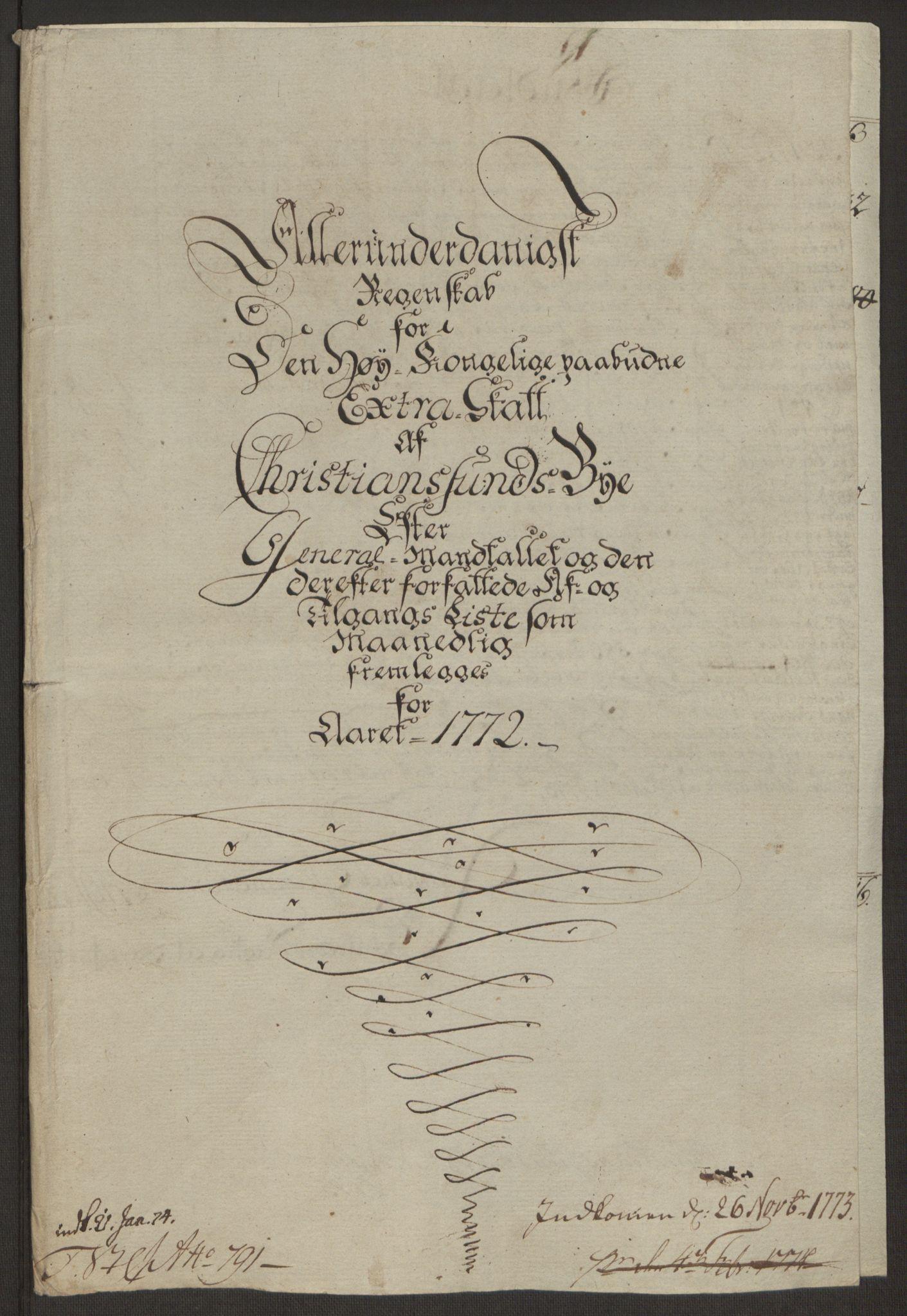RA, Rentekammeret inntil 1814, Reviderte regnskaper, Byregnskaper, R/Rr/L0495: [R1] Kontribusjonsregnskap, 1762-1772, s. 262