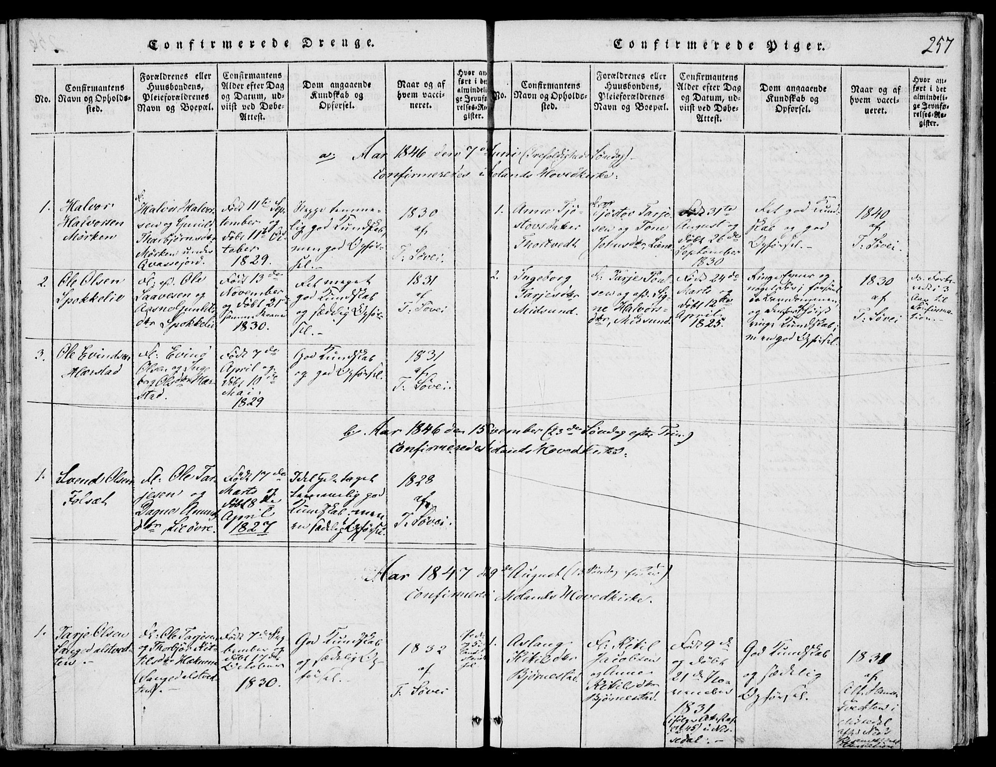 SAKO, Fyresdal kirkebøker, F/Fb/L0001: Ministerialbok nr. II 1, 1815-1854, s. 257
