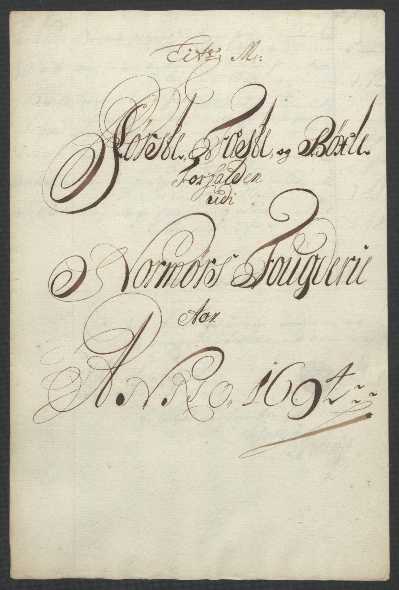 RA, Rentekammeret inntil 1814, Reviderte regnskaper, Fogderegnskap, R56/L3736: Fogderegnskap Nordmøre, 1694-1696, s. 106