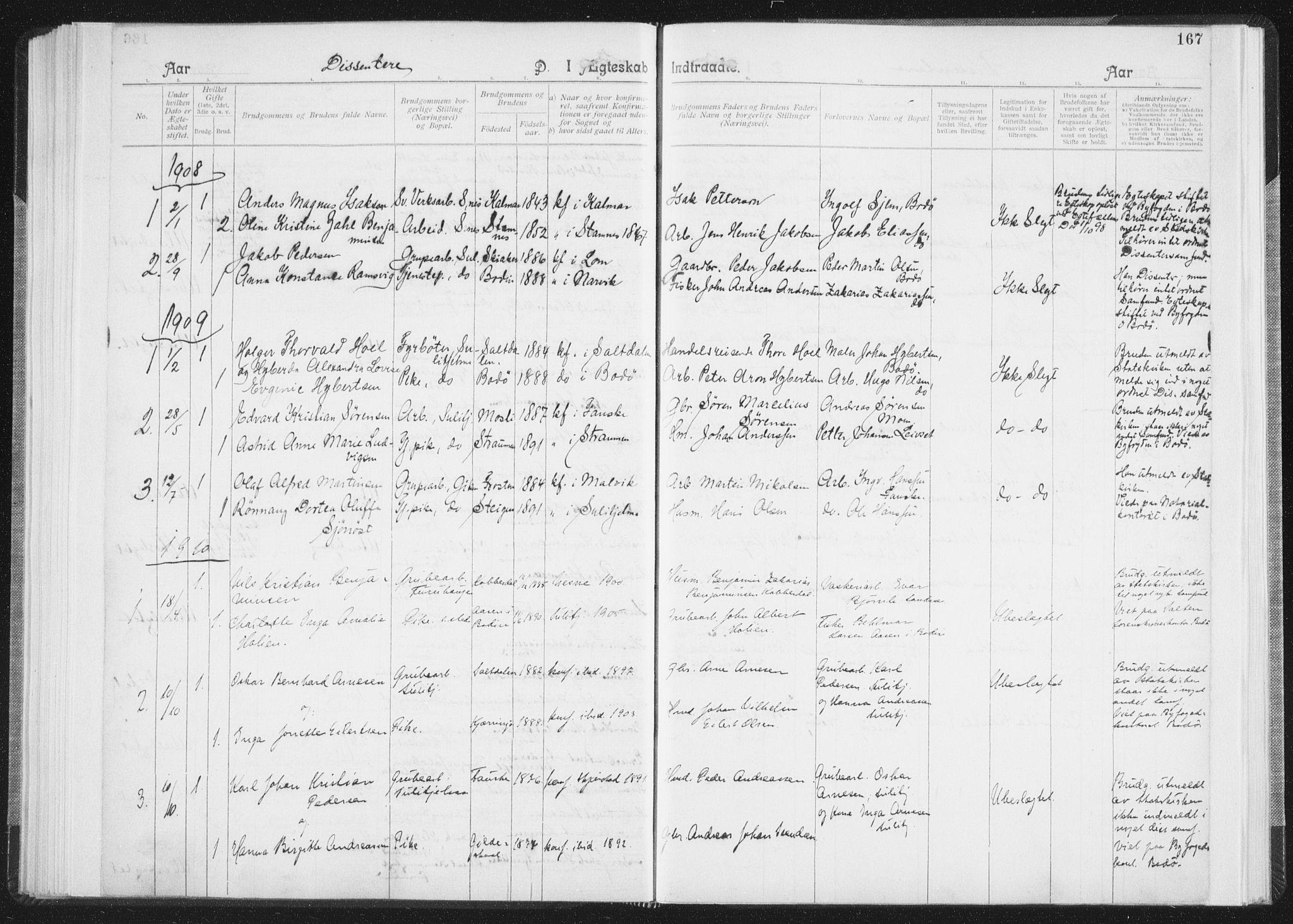 SAT, Ministerialprotokoller, klokkerbøker og fødselsregistre - Nordland, 850/L0711: Residerende kapellans bok nr. 850B01, 1902-1915, s. 167