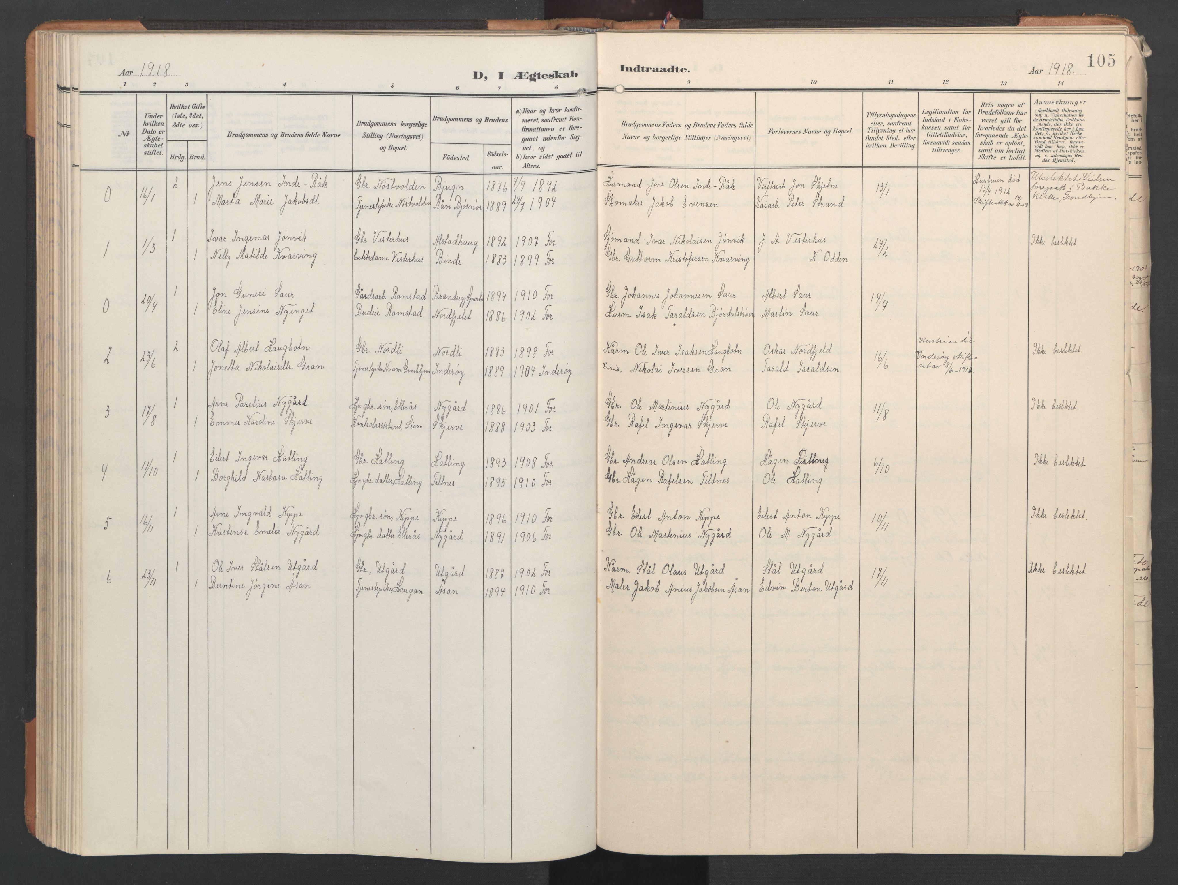 SAT, Ministerialprotokoller, klokkerbøker og fødselsregistre - Nord-Trøndelag, 746/L0455: Klokkerbok nr. 746C01, 1908-1933, s. 105