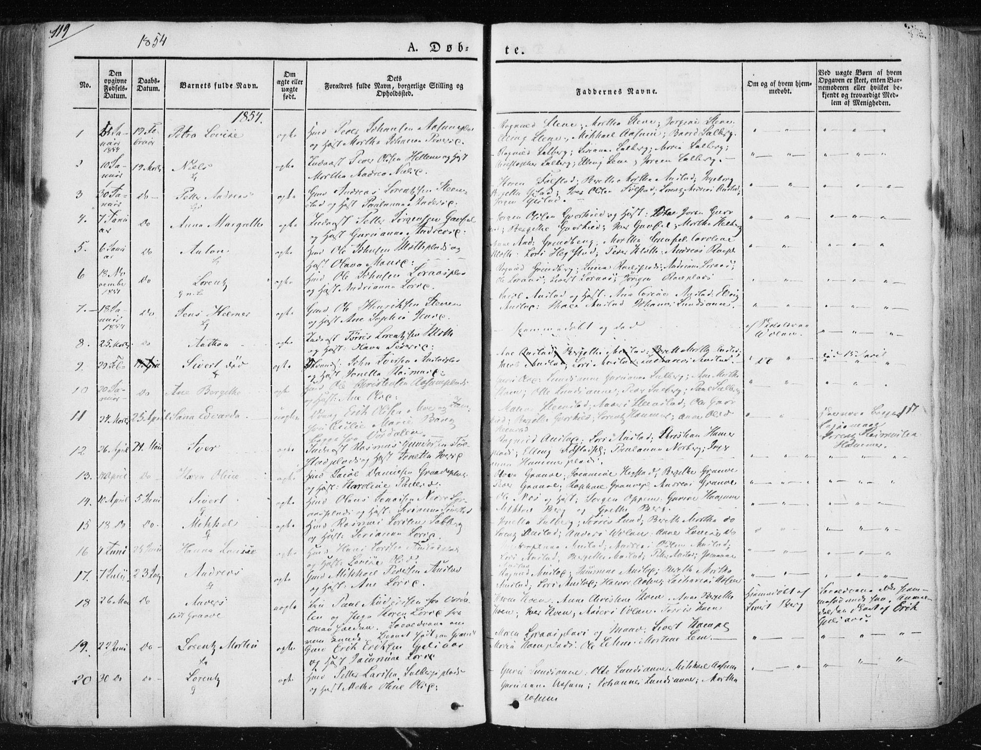 SAT, Ministerialprotokoller, klokkerbøker og fødselsregistre - Nord-Trøndelag, 730/L0280: Ministerialbok nr. 730A07 /2, 1840-1854, s. 119