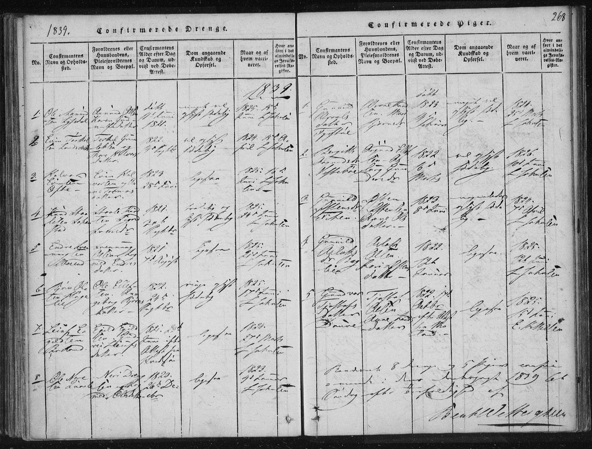 SAKO, Lårdal kirkebøker, F/Fc/L0001: Ministerialbok nr. III 1, 1815-1860, s. 268