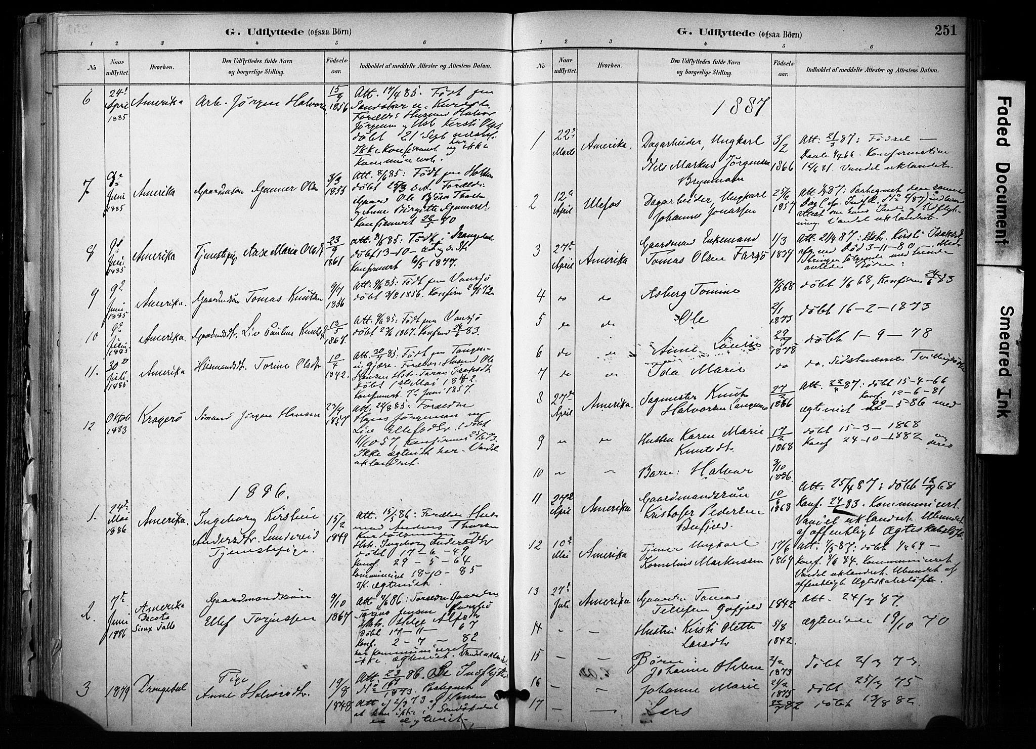 SAKO, Sannidal kirkebøker, F/Fa/L0015: Ministerialbok nr. 15, 1884-1899, s. 251