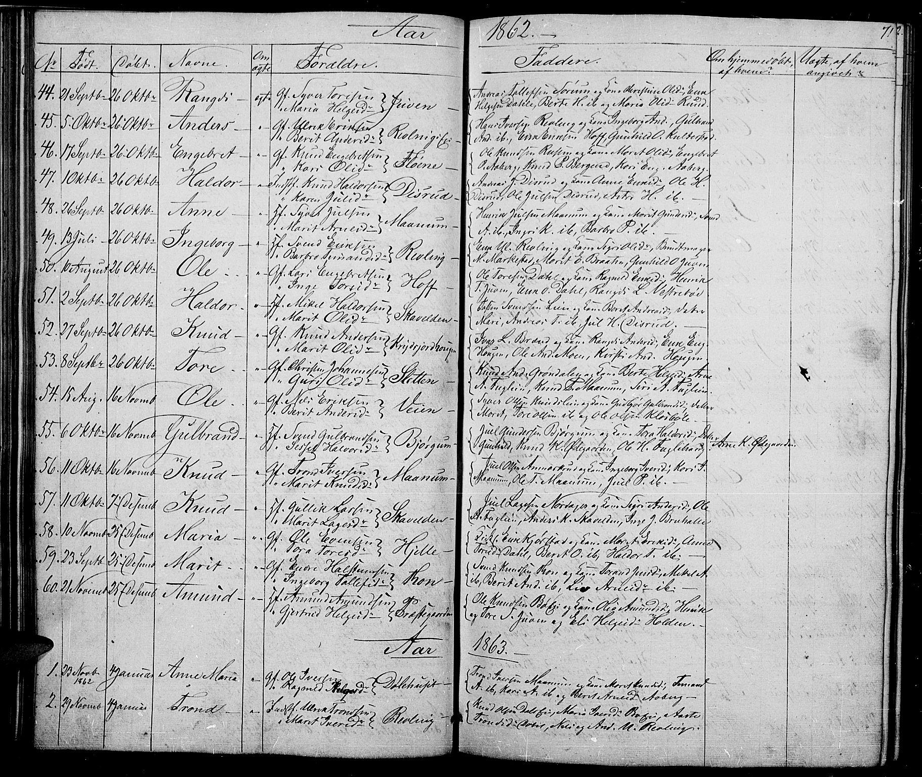 SAH, Nord-Aurdal prestekontor, Klokkerbok nr. 2, 1842-1877, s. 71