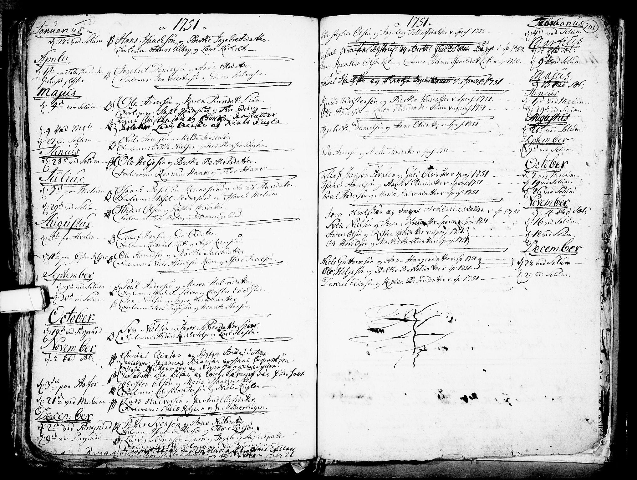 SAKO, Solum kirkebøker, F/Fa/L0002: Ministerialbok nr. I 2, 1713-1761, s. 201