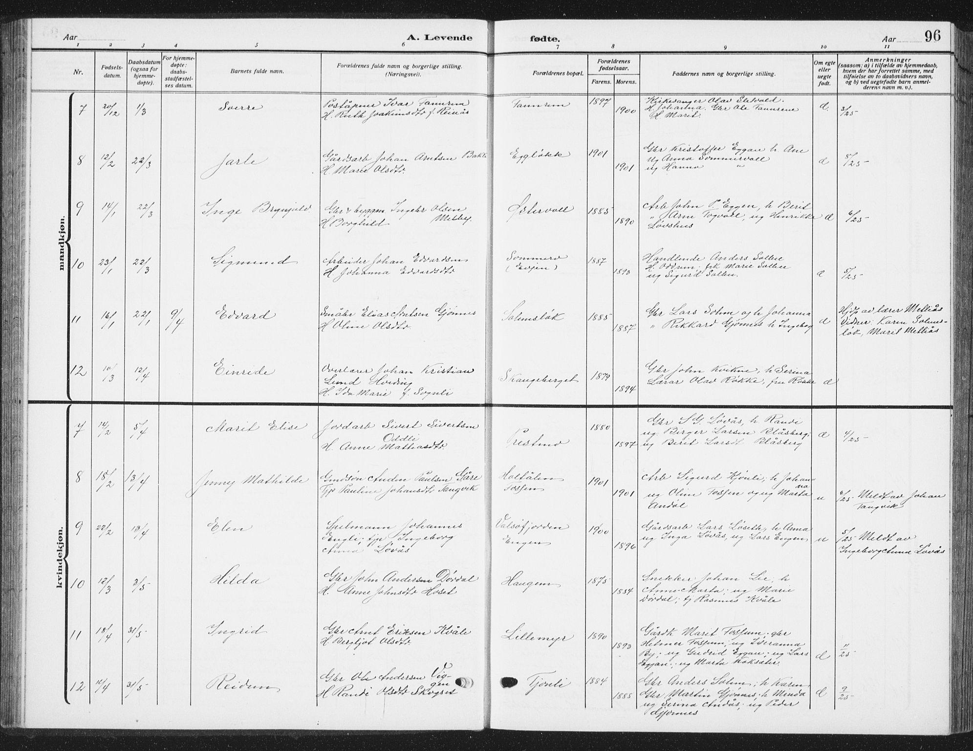 SAT, Ministerialprotokoller, klokkerbøker og fødselsregistre - Sør-Trøndelag, 668/L0820: Klokkerbok nr. 668C09, 1912-1936, s. 96