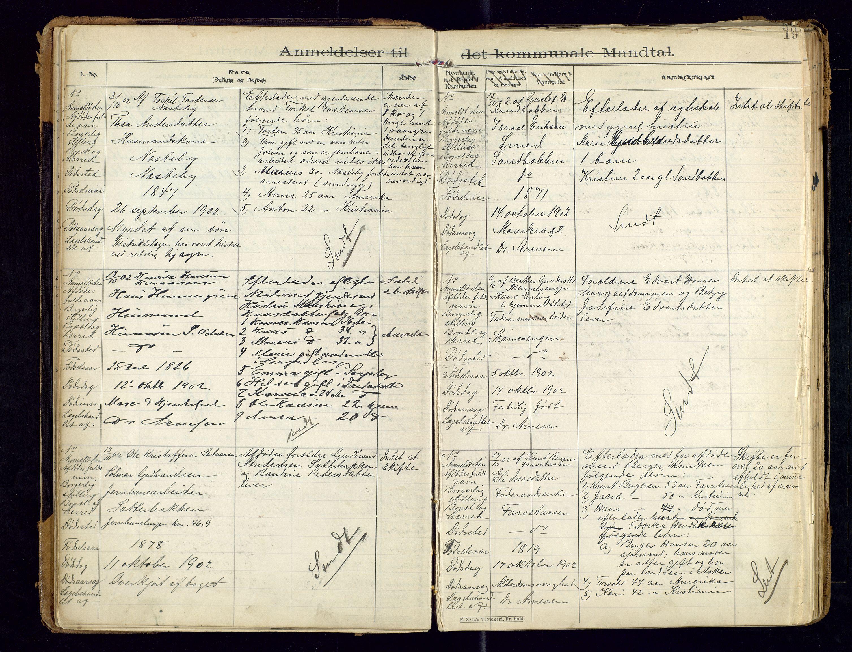 SAH, Sør-Odal lensmannskontor, H/Hb/L0001: Protokoller over anmeldte dødsfall, 1901-1913, s. 19