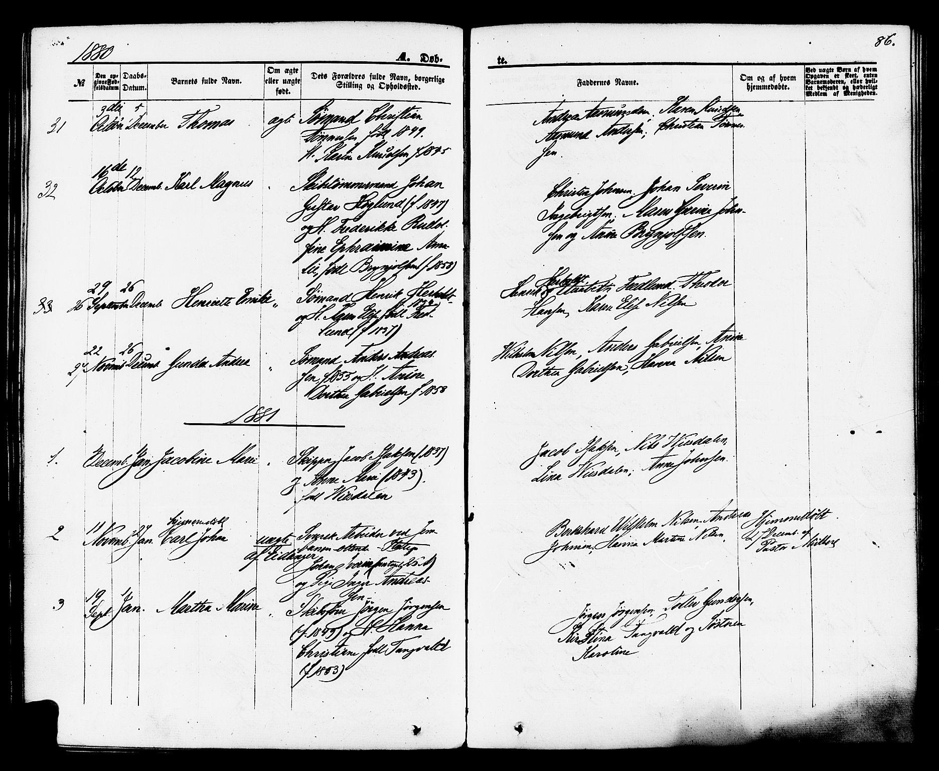 SAKO, Brevik kirkebøker, F/Fa/L0006: Ministerialbok nr. 6, 1866-1881, s. 86