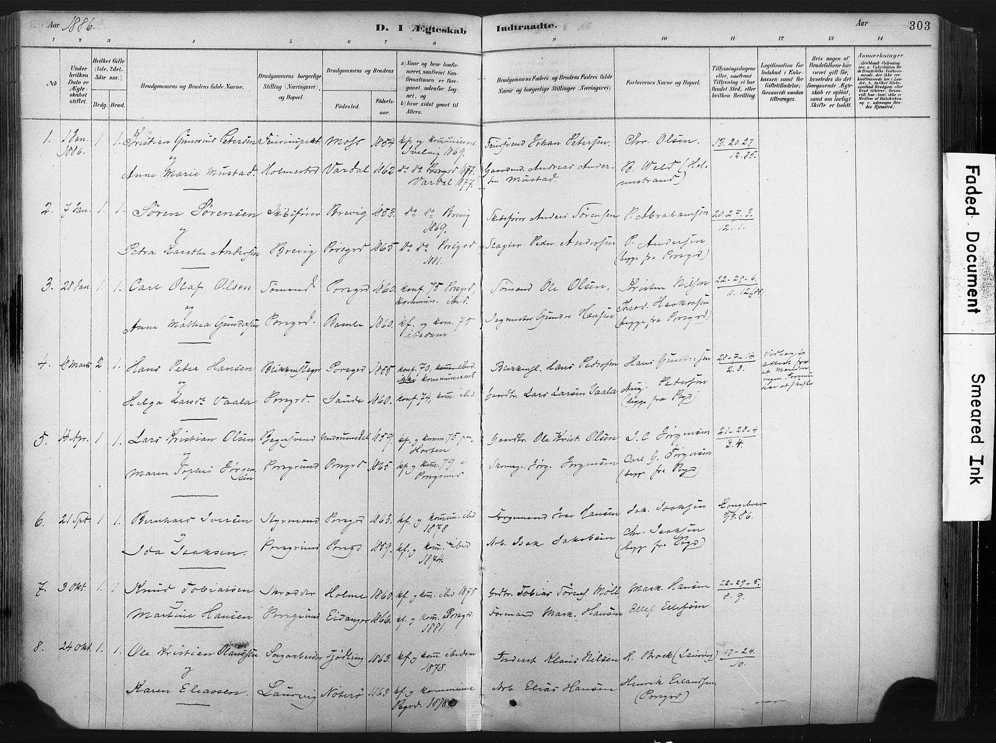 SAKO, Porsgrunn kirkebøker , F/Fa/L0008: Ministerialbok nr. 8, 1878-1895, s. 303