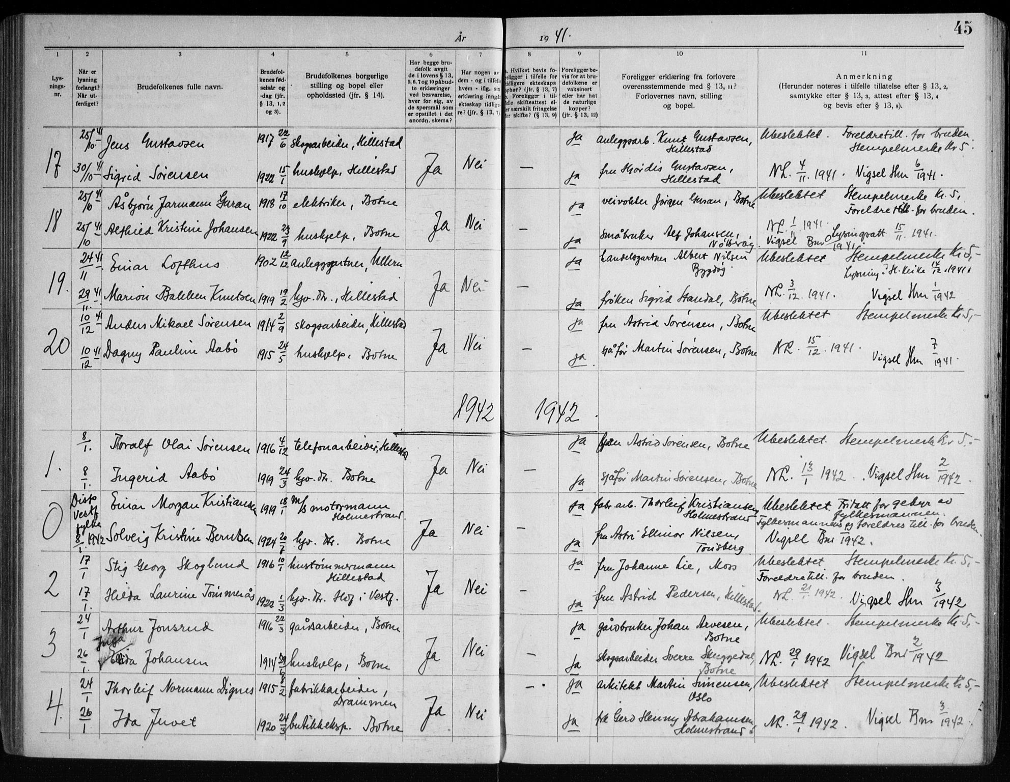 SAKO, Botne kirkebøker, H/Ha/L0001: Lysningsprotokoll nr. 1, 1919-1965, s. 45