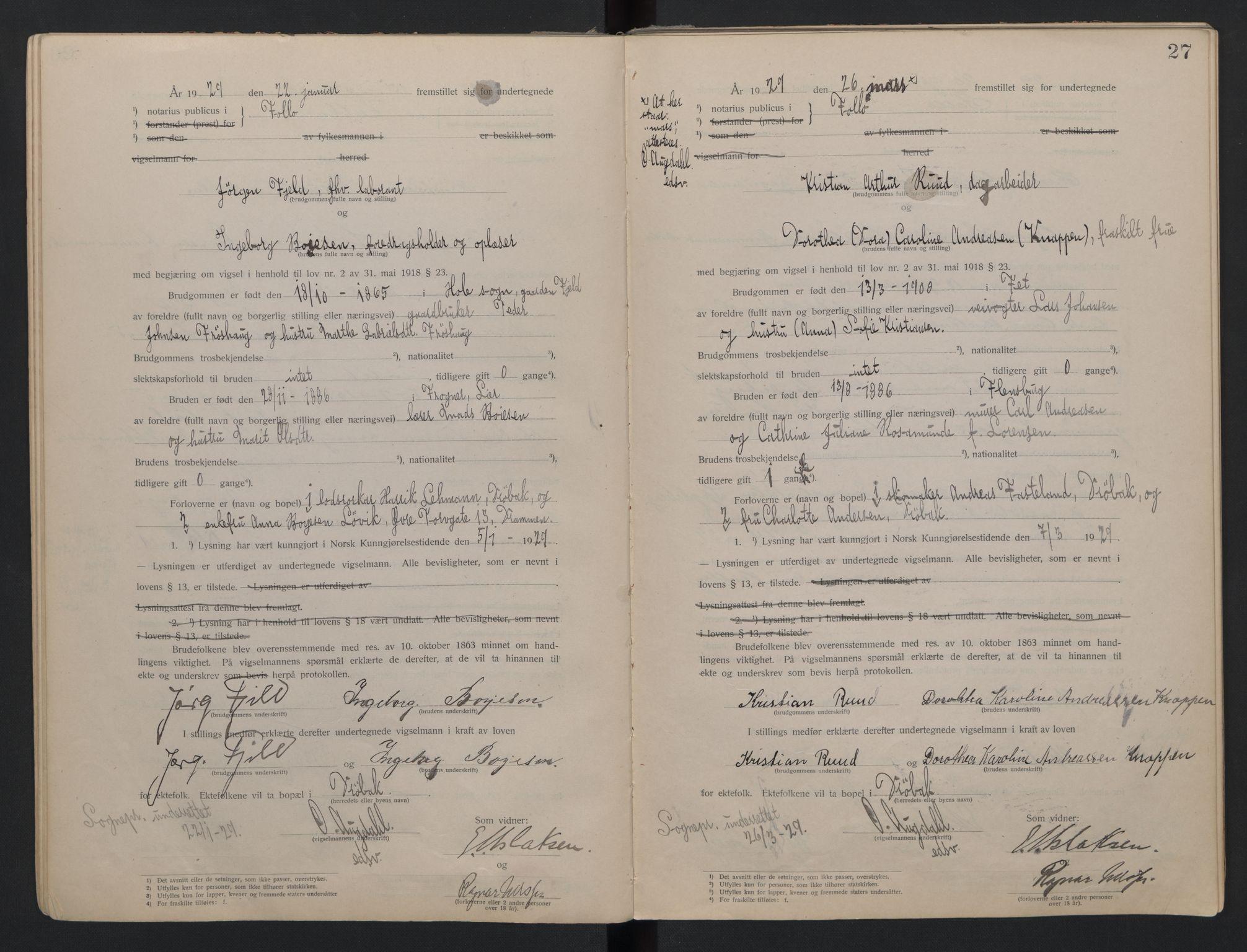 SAO, Follo sorenskriveri, L/La/Lab/L0001: Vigselsbok, 1920-1942, s. 27