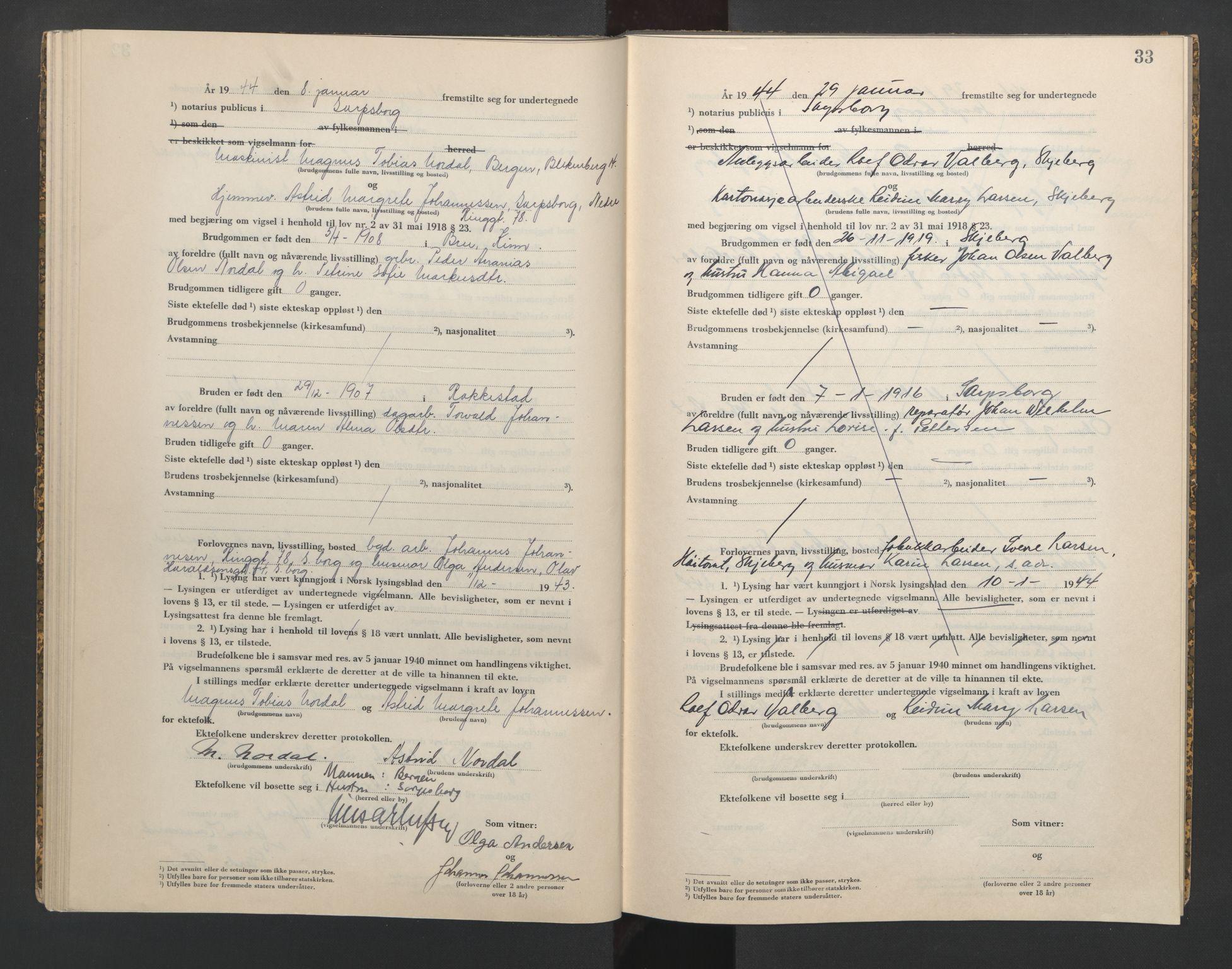 SAO, Sarpsborg byfogd, L/Lb/Lba/L0003: Vigselbok, 1943-1945, s. 33