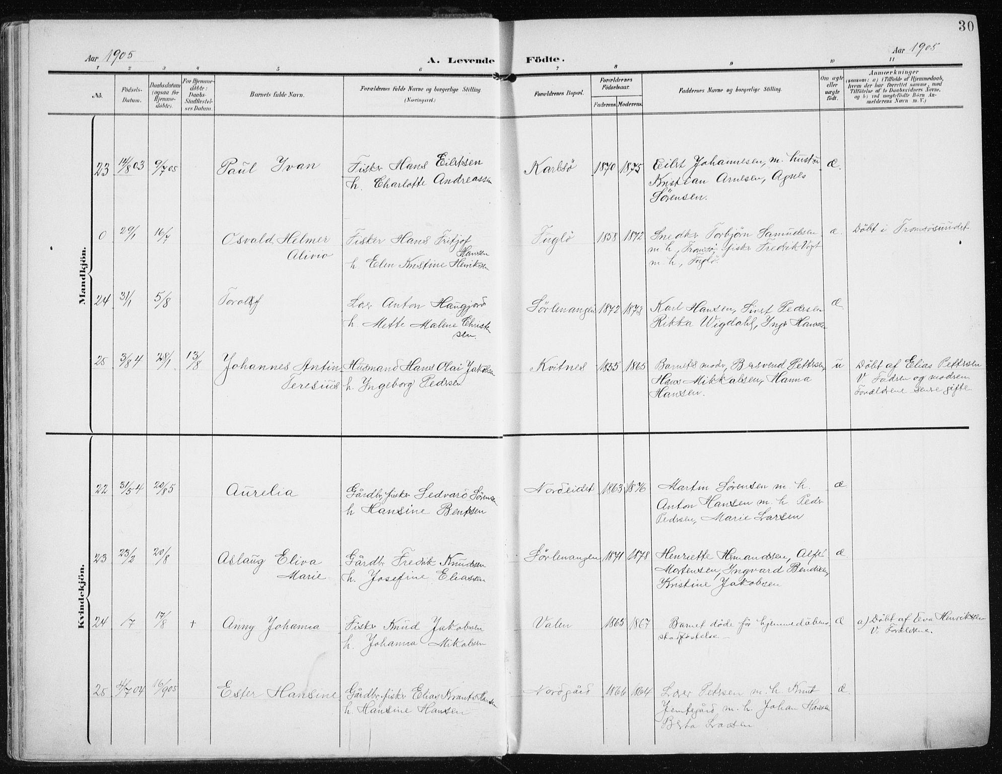 SATØ, Karlsøy sokneprestembete, Ministerialbok nr. 14, 1903-1917, s. 30