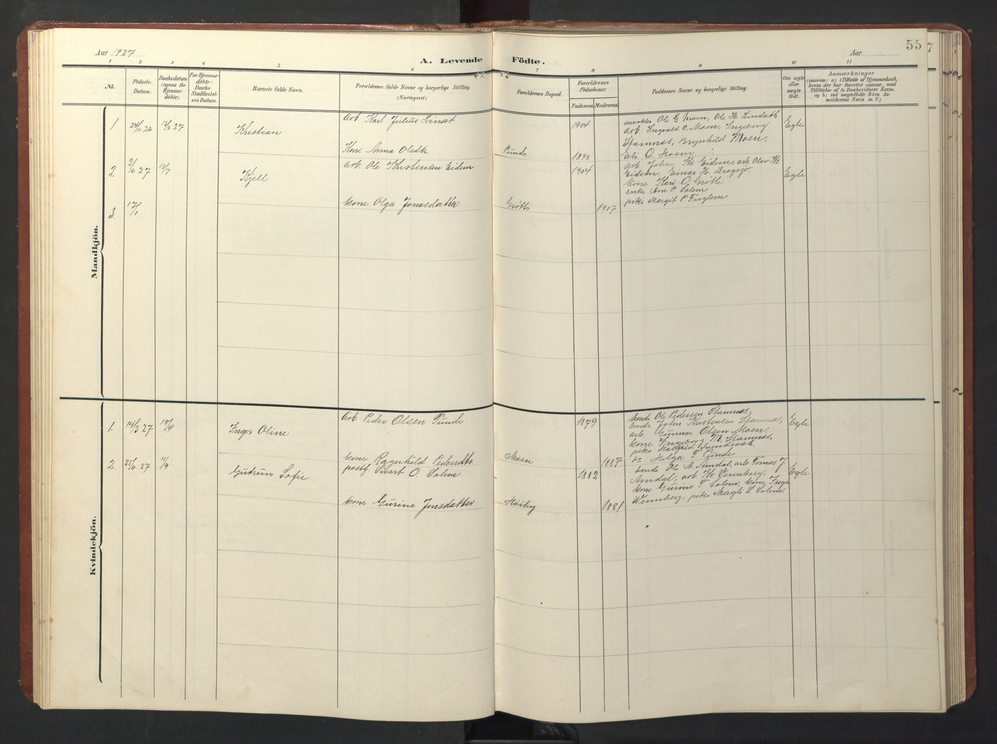 SAT, Ministerialprotokoller, klokkerbøker og fødselsregistre - Sør-Trøndelag, 696/L1161: Klokkerbok nr. 696C01, 1902-1950, s. 55