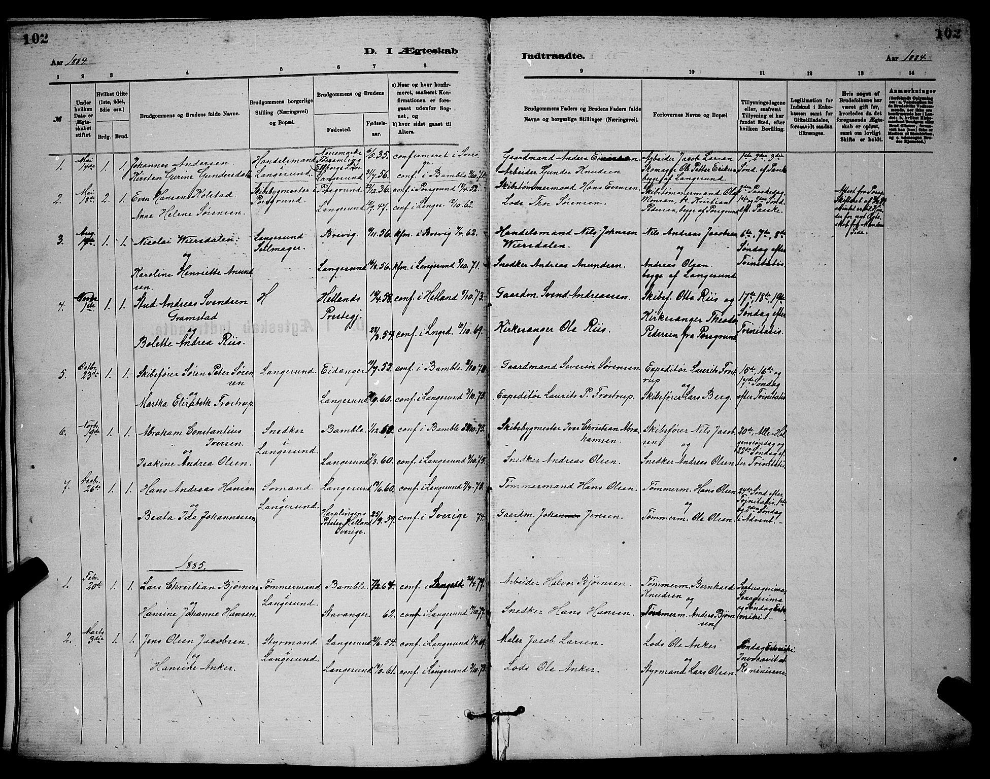 SAKO, Langesund kirkebøker, G/Ga/L0005: Klokkerbok nr. 5, 1884-1898, s. 102