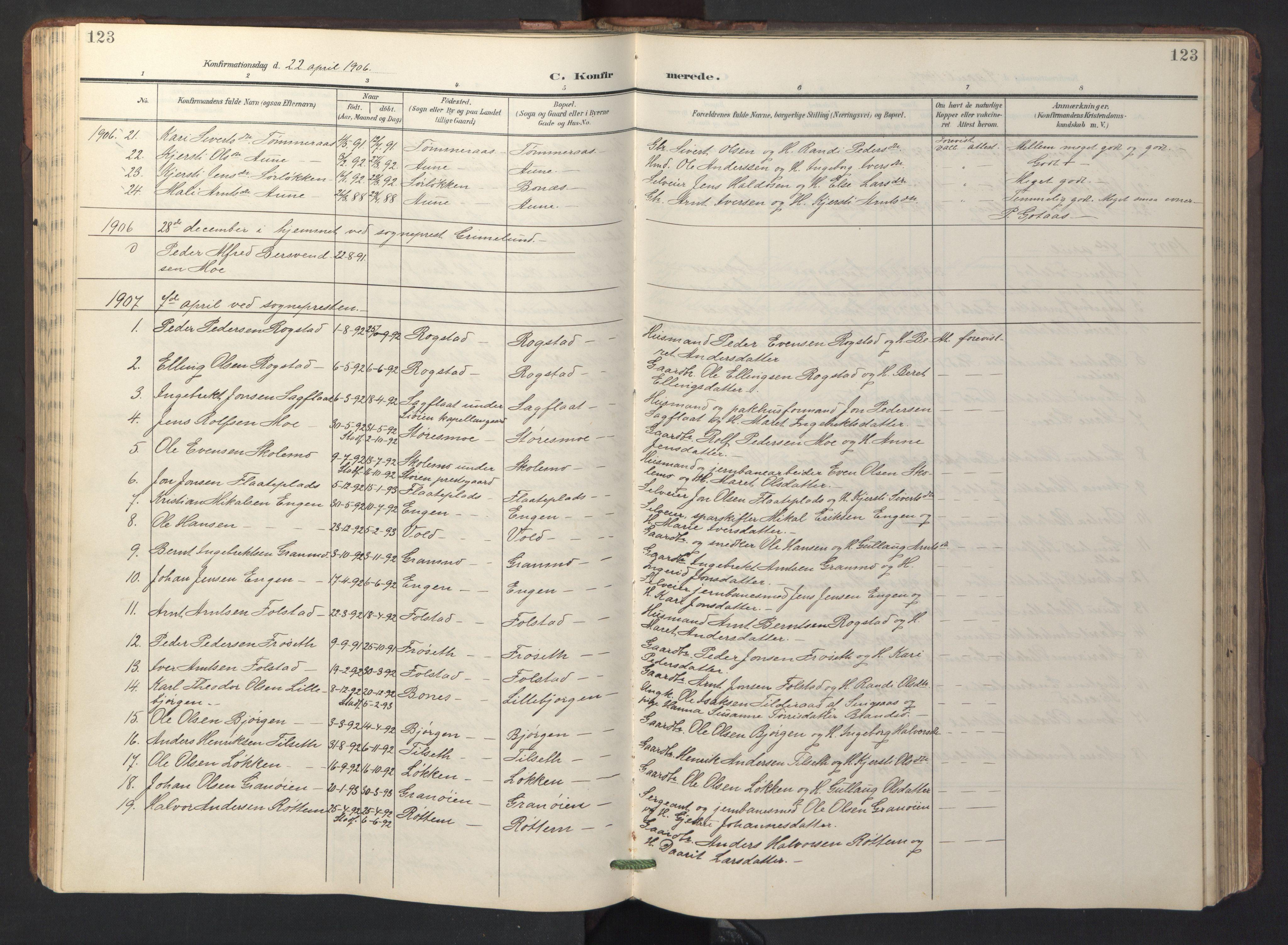 SAT, Ministerialprotokoller, klokkerbøker og fødselsregistre - Sør-Trøndelag, 687/L1019: Klokkerbok nr. 687C03, 1904-1931, s. 123