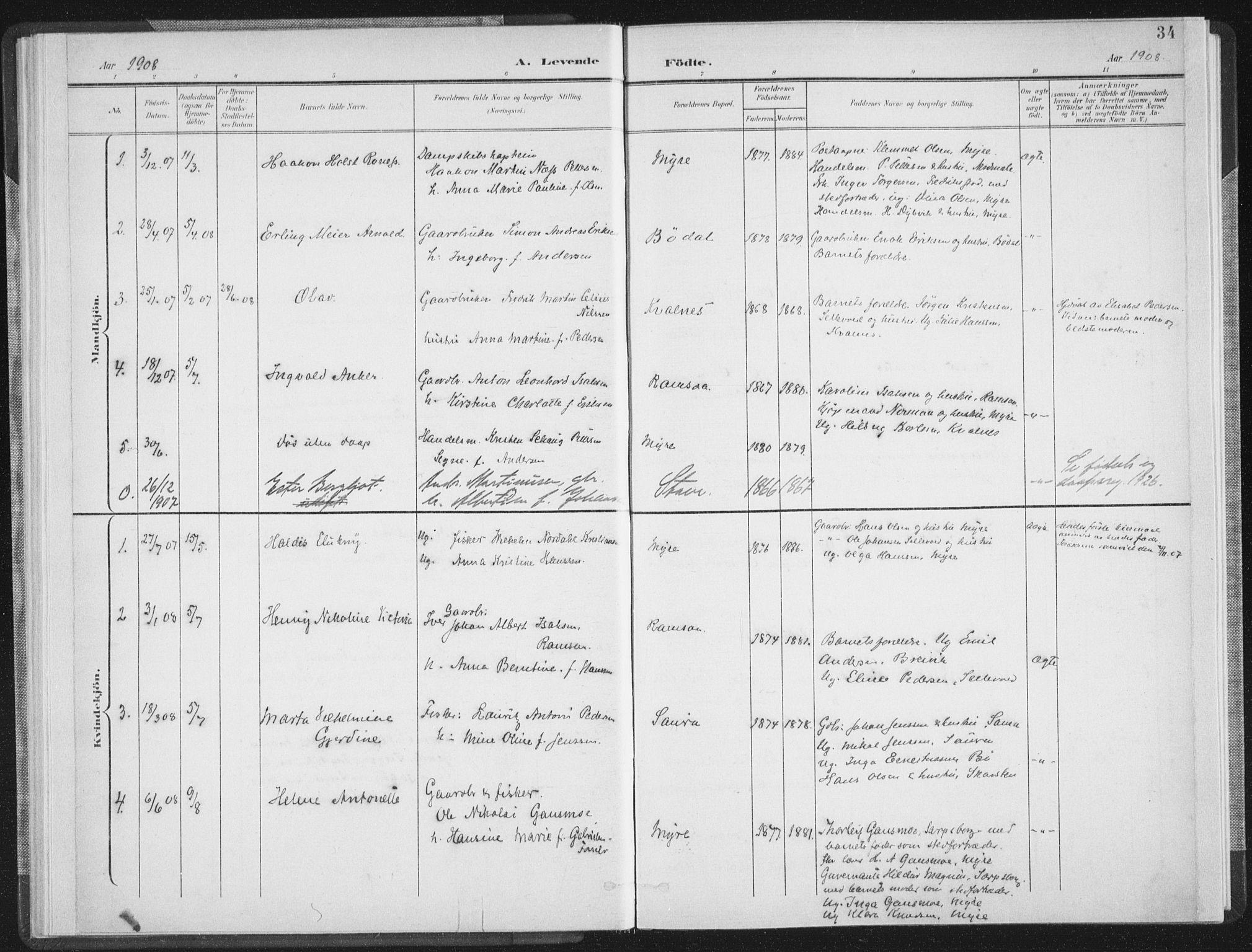 SAT, Ministerialprotokoller, klokkerbøker og fødselsregistre - Nordland, 897/L1400: Ministerialbok nr. 897A07, 1897-1908, s. 34