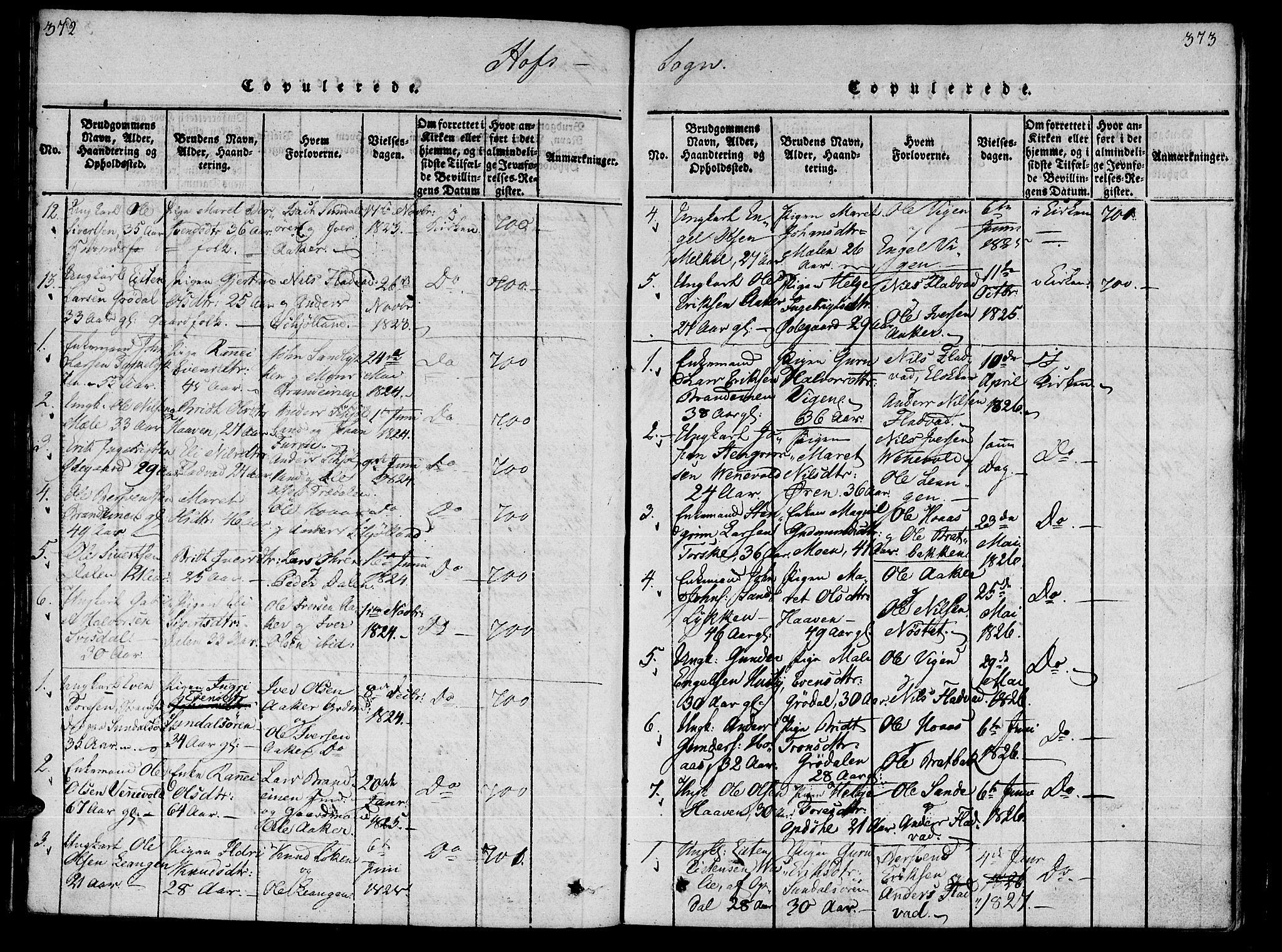 SAT, Ministerialprotokoller, klokkerbøker og fødselsregistre - Møre og Romsdal, 590/L1009: Ministerialbok nr. 590A03 /1, 1819-1832, s. 372-373