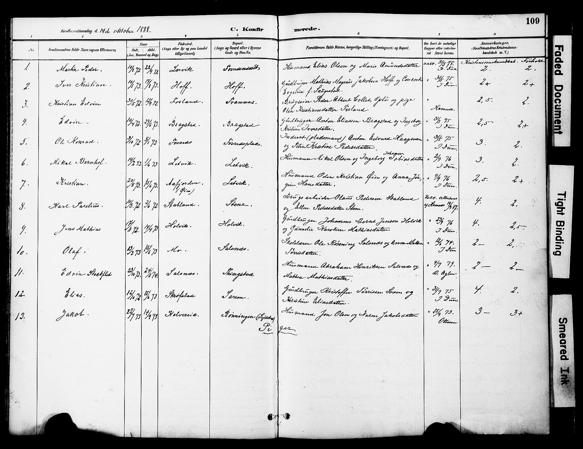 SAT, Ministerialprotokoller, klokkerbøker og fødselsregistre - Nord-Trøndelag, 774/L0628: Ministerialbok nr. 774A02, 1887-1903, s. 109