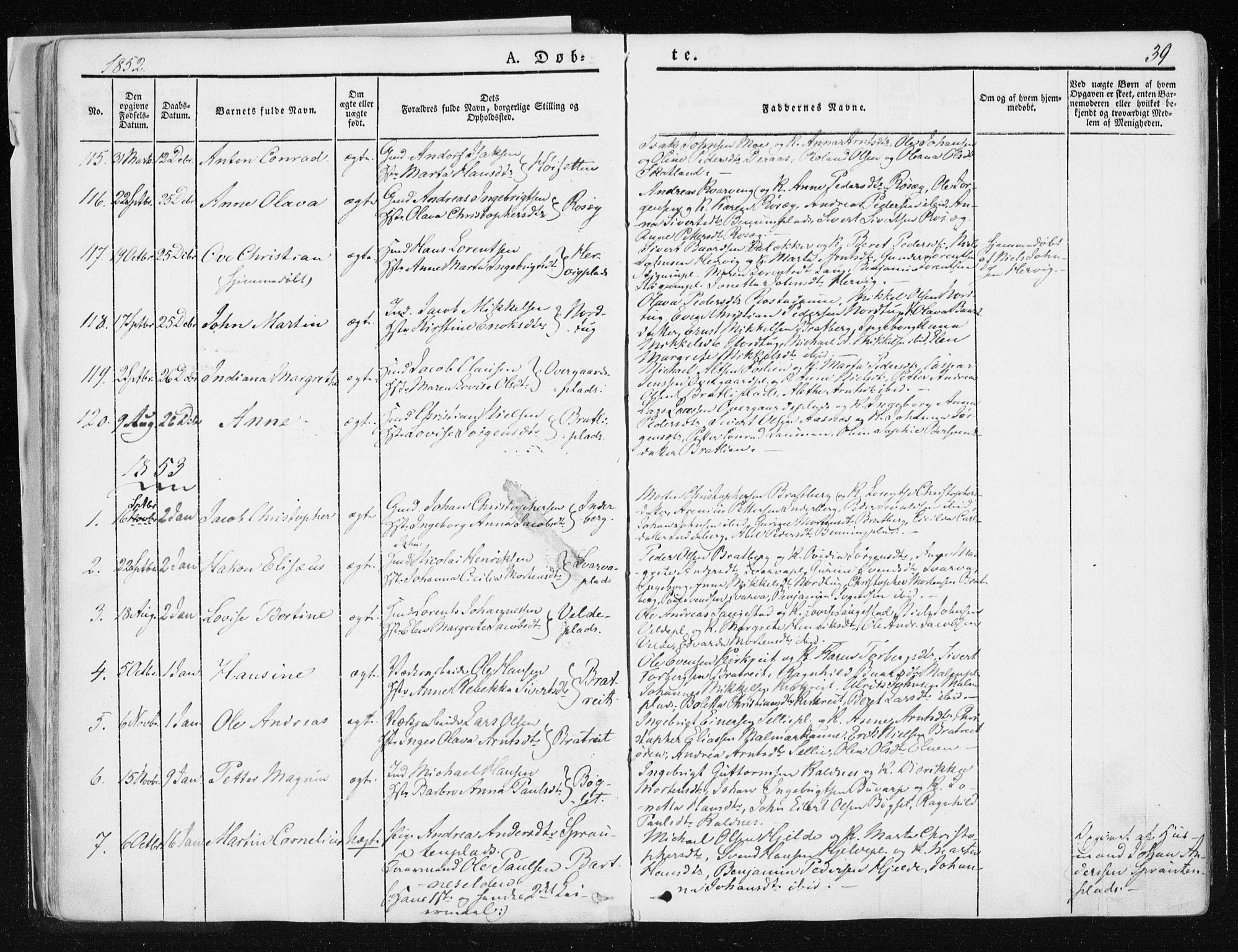 SAT, Ministerialprotokoller, klokkerbøker og fødselsregistre - Nord-Trøndelag, 741/L0393: Ministerialbok nr. 741A07, 1849-1863, s. 39