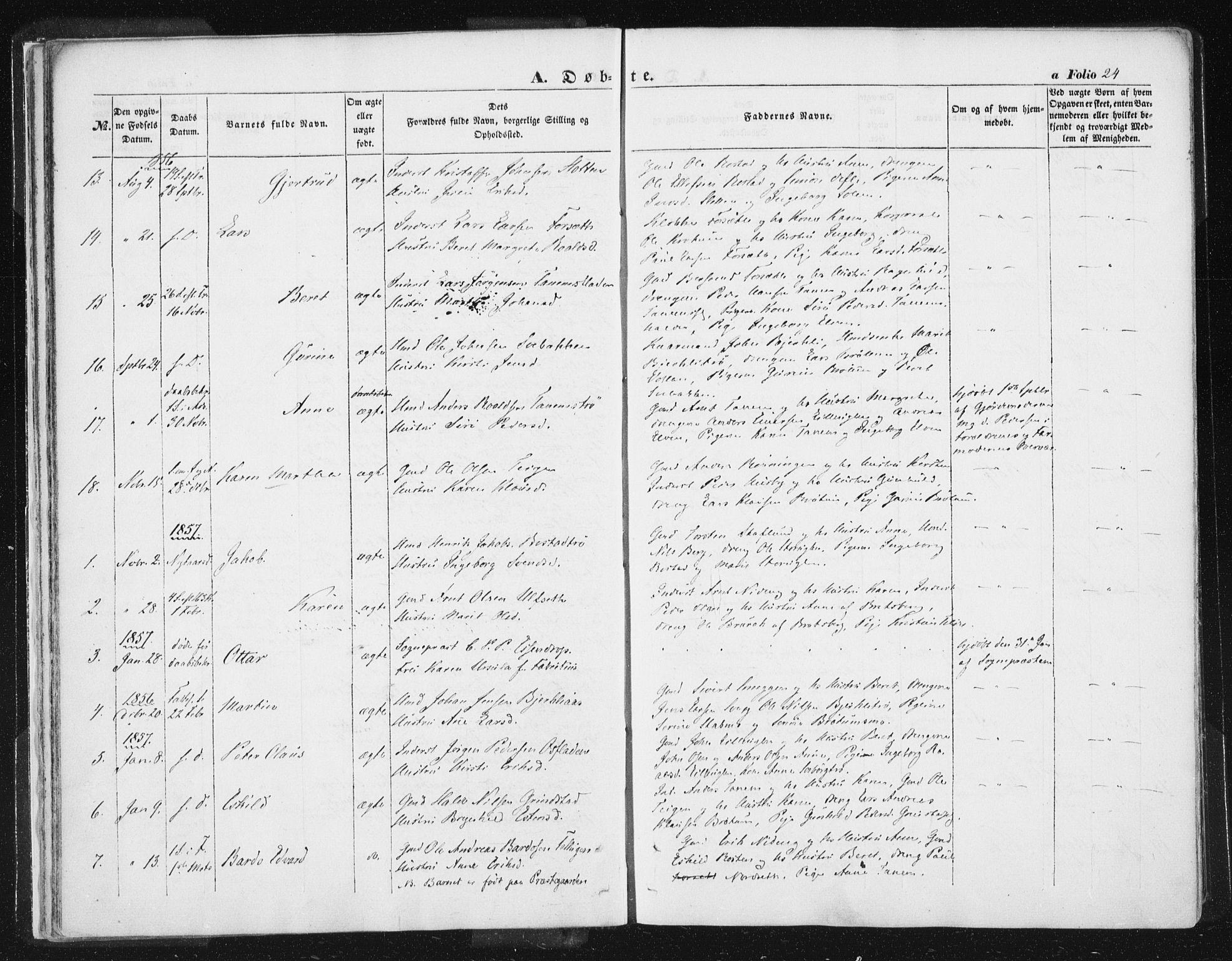 SAT, Ministerialprotokoller, klokkerbøker og fødselsregistre - Sør-Trøndelag, 618/L0441: Ministerialbok nr. 618A05, 1843-1862, s. 24