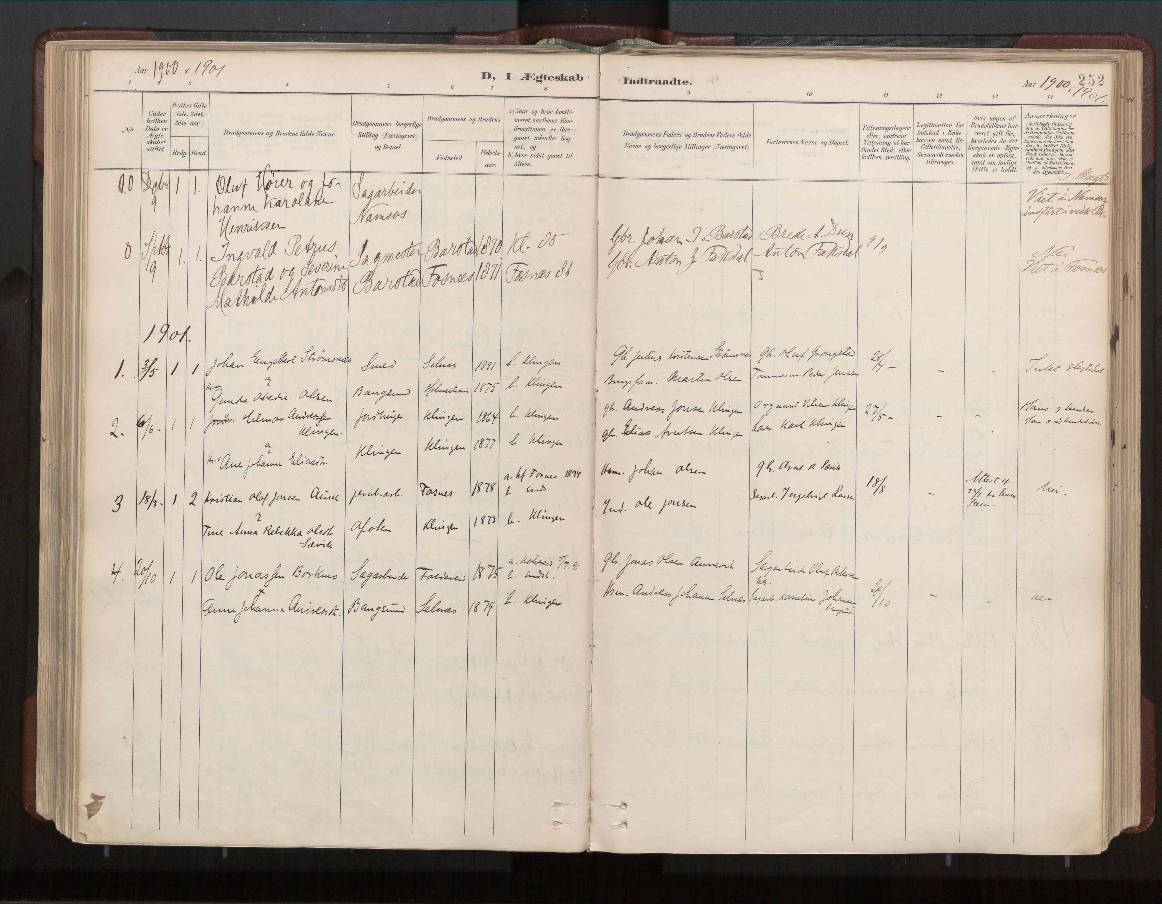 SAT, Ministerialprotokoller, klokkerbøker og fødselsregistre - Nord-Trøndelag, 770/L0589: Ministerialbok nr. 770A03, 1887-1929, s. 252