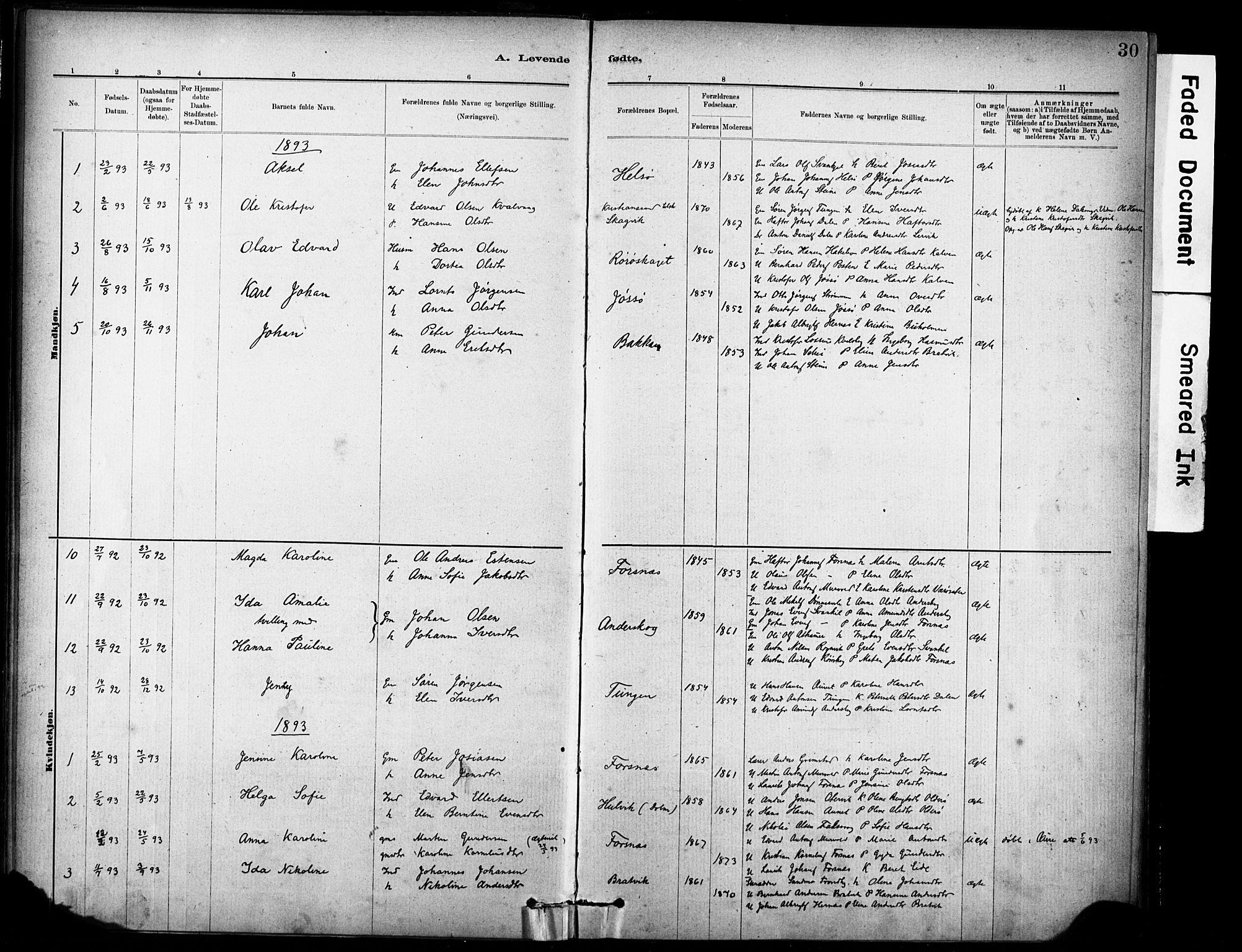 SAT, Ministerialprotokoller, klokkerbøker og fødselsregistre - Sør-Trøndelag, 635/L0551: Ministerialbok nr. 635A01, 1882-1899, s. 30
