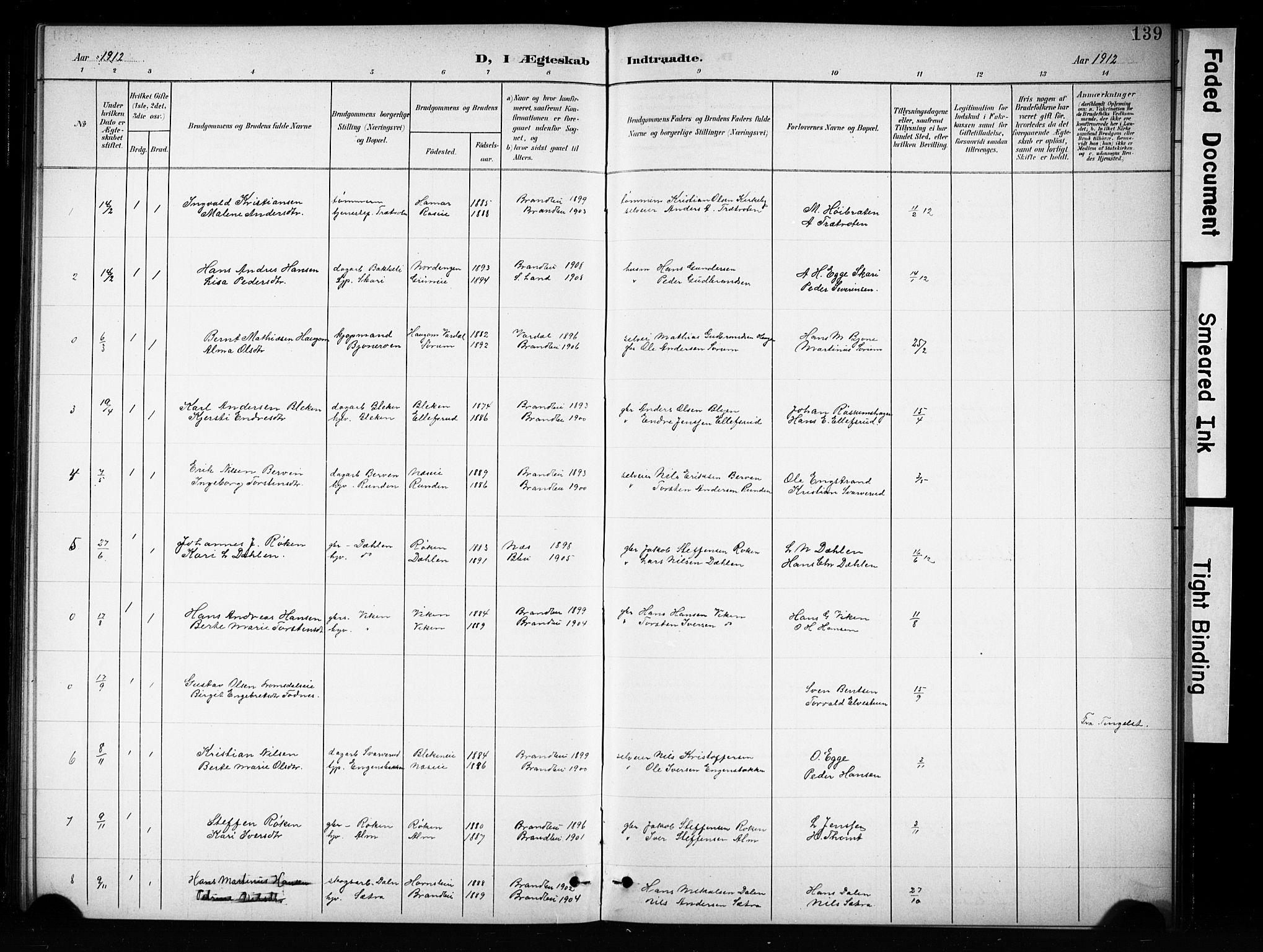 SAH, Brandbu prestekontor, Klokkerbok nr. 5, 1900-1913, s. 139