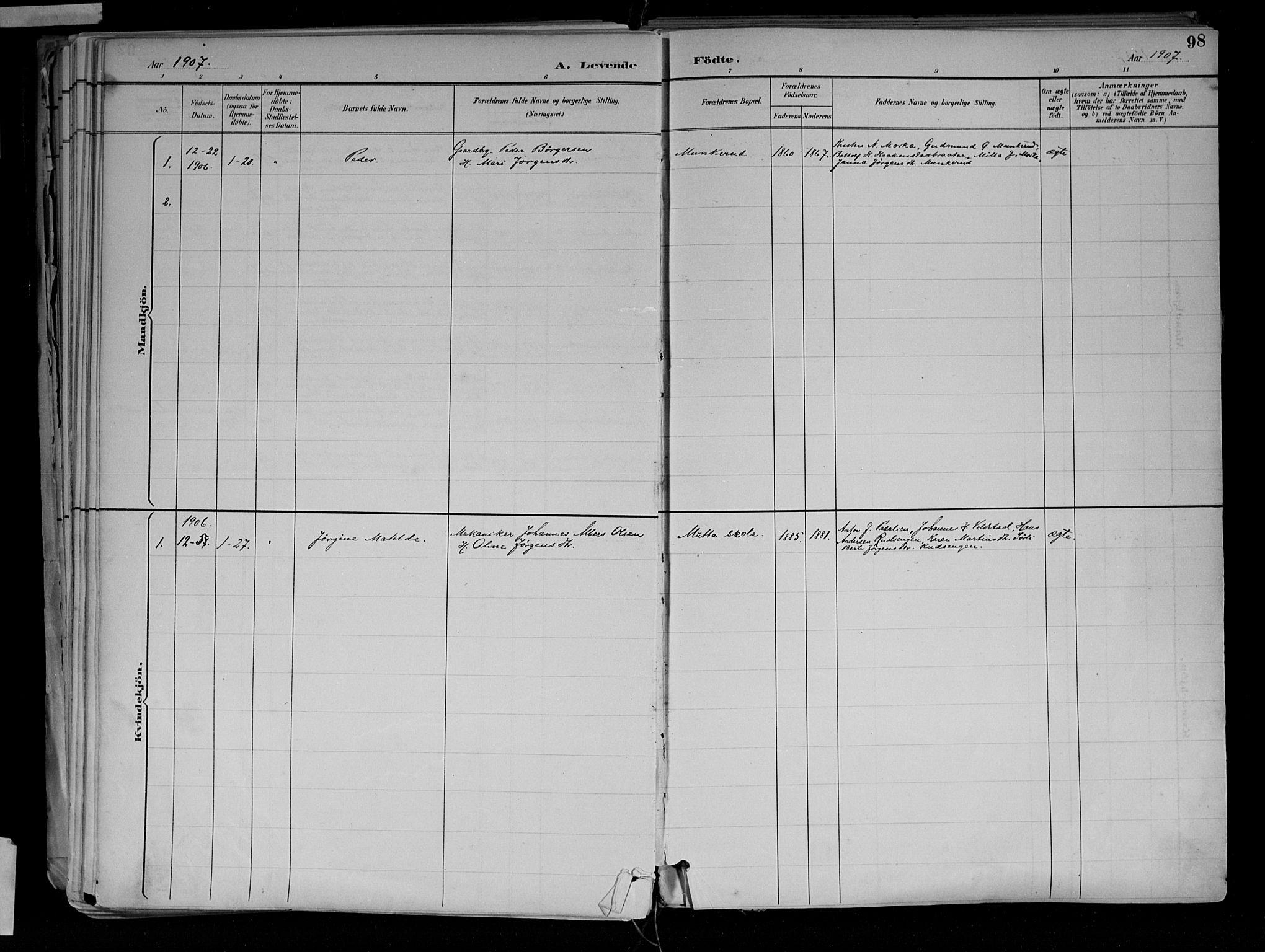 SAH, Jevnaker prestekontor, Ministerialbok nr. 10, 1891-1906, s. 98