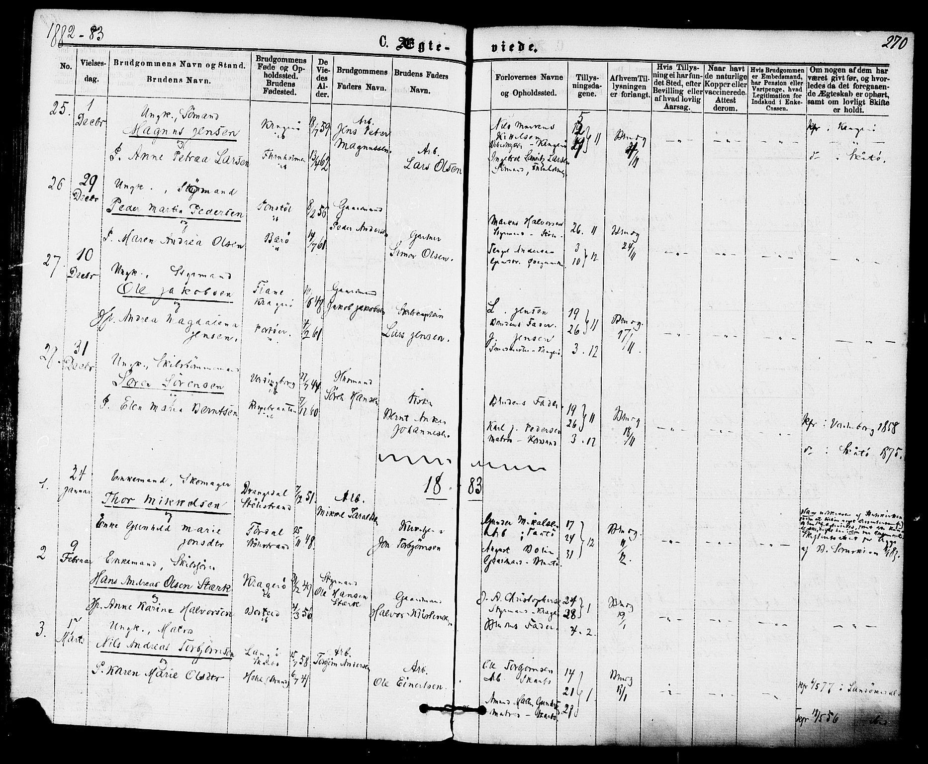 SAKO, Skåtøy kirkebøker, F/Fa/L0001: Ministerialbok nr. I 1, 1874-1883, s. 270