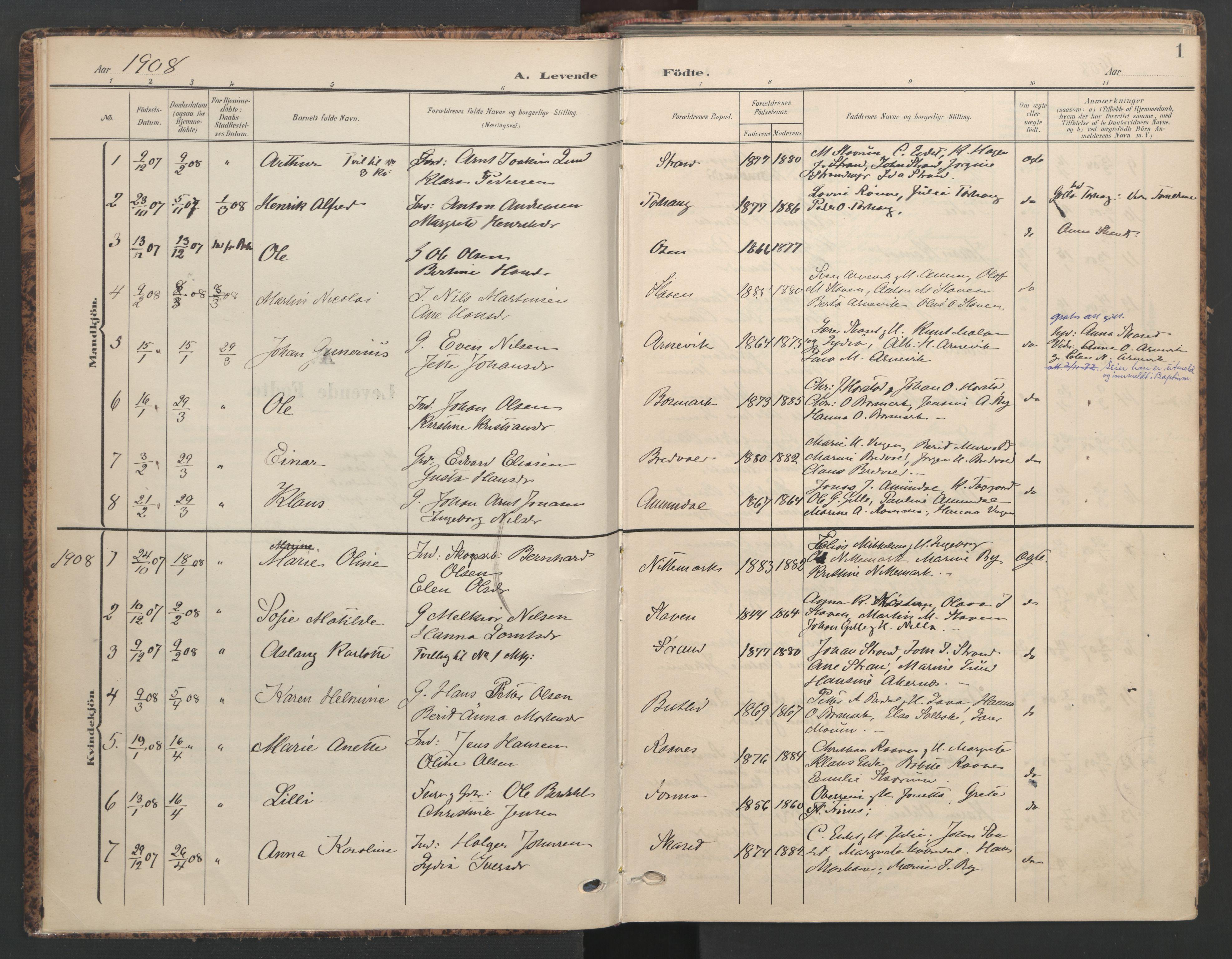 SAT, Ministerialprotokoller, klokkerbøker og fødselsregistre - Sør-Trøndelag, 655/L0682: Ministerialbok nr. 655A11, 1908-1922, s. 1