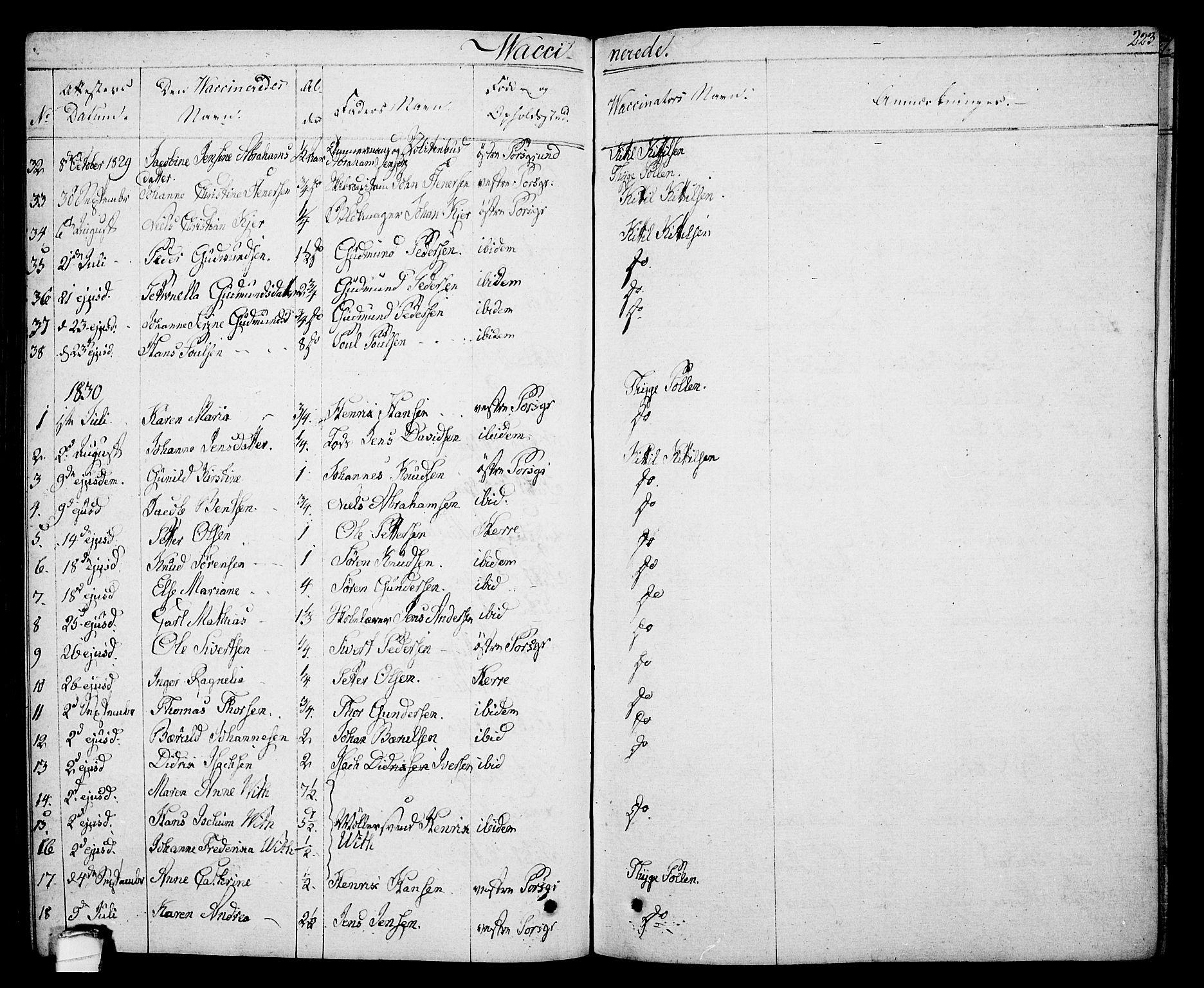 SAKO, Porsgrunn kirkebøker , F/Fa/L0005: Ministerialbok nr. 5, 1828-1840, s. 223