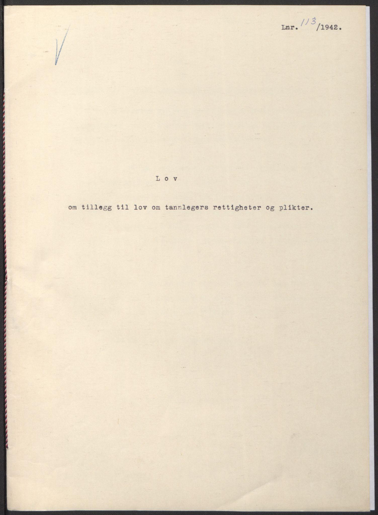 RA, NS-administrasjonen 1940-1945 (Statsrådsekretariatet, de kommisariske statsråder mm), D/Db/L0097: Lover I, 1942, s. upaginert