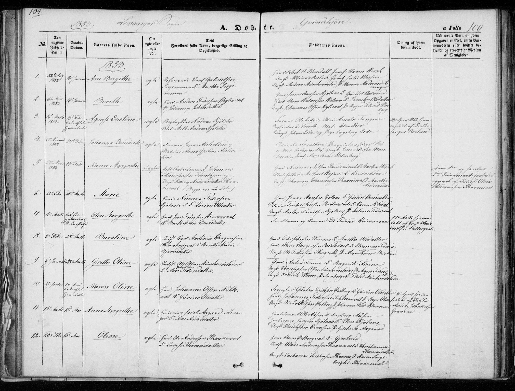 SAT, Ministerialprotokoller, klokkerbøker og fødselsregistre - Nord-Trøndelag, 720/L0183: Ministerialbok nr. 720A01, 1836-1855, s. 100