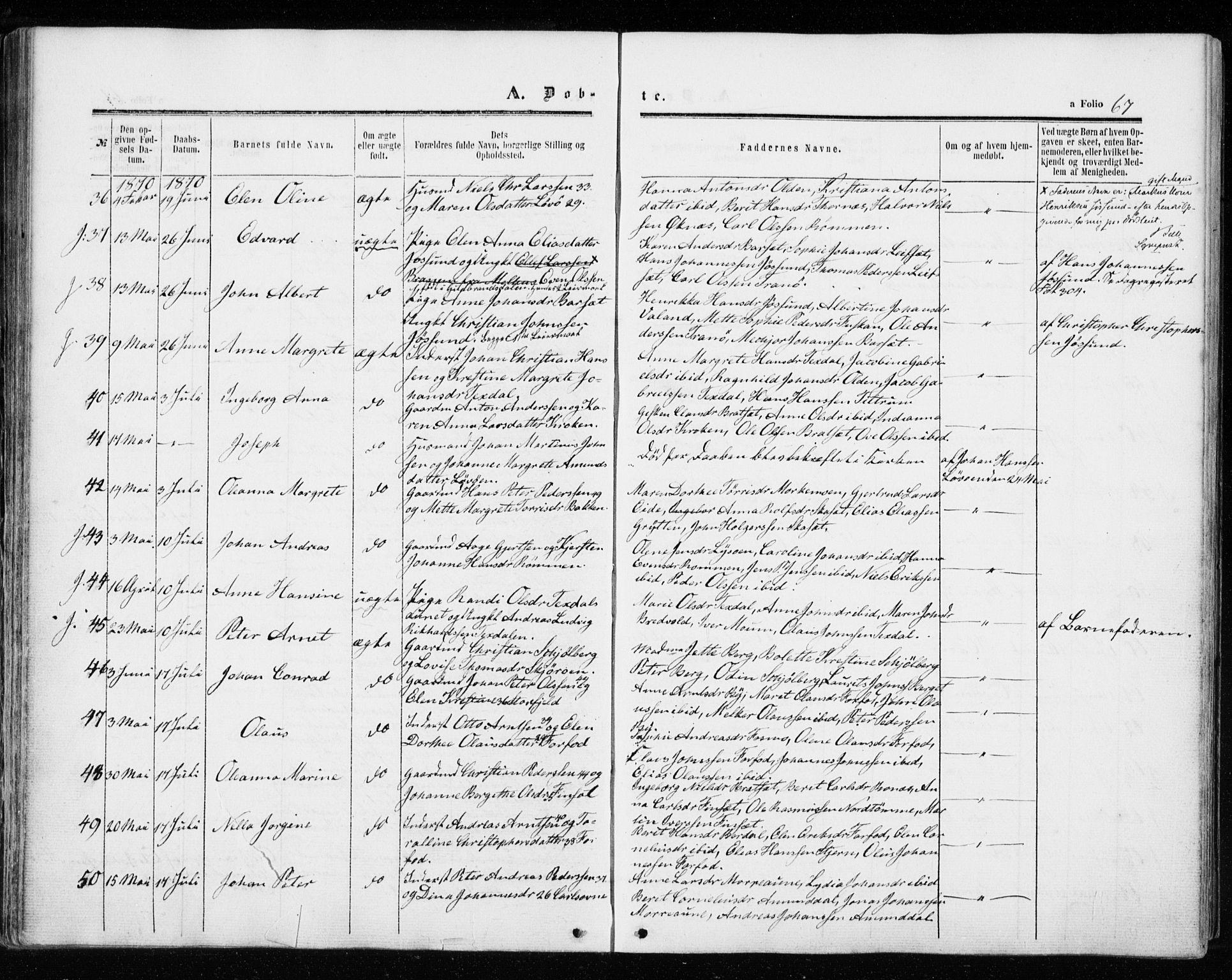 SAT, Ministerialprotokoller, klokkerbøker og fødselsregistre - Sør-Trøndelag, 655/L0678: Ministerialbok nr. 655A07, 1861-1873, s. 67